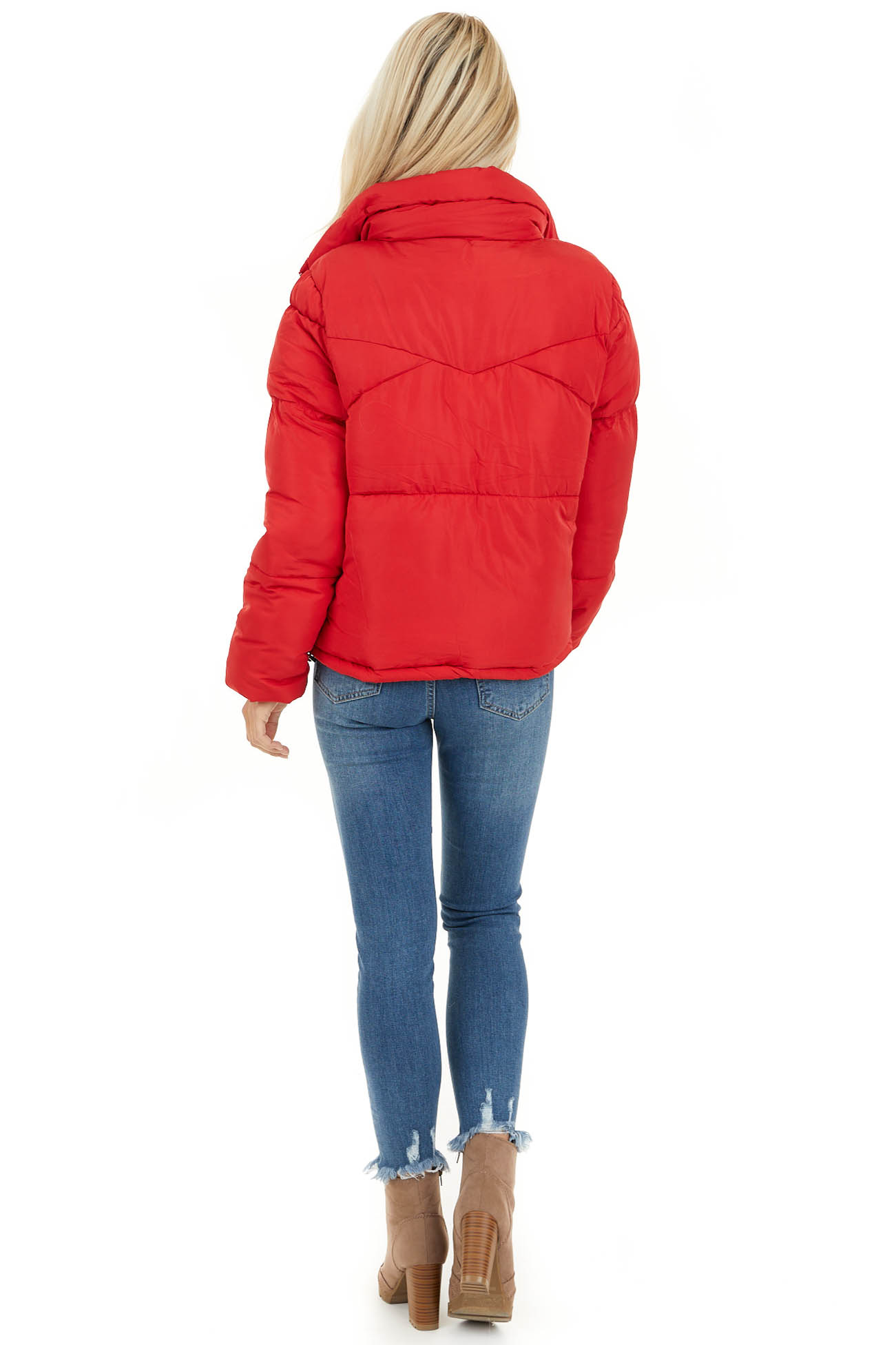 Lipstick Red Long Sleeve Puffy Coat with Pockets back full body