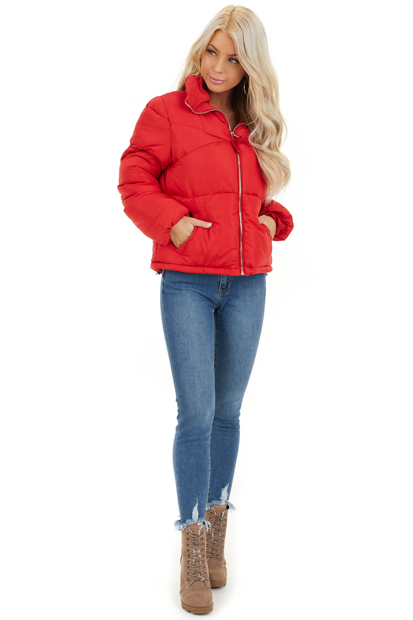 Lipstick Red Long Sleeve Puffy Coat with Pockets front full body