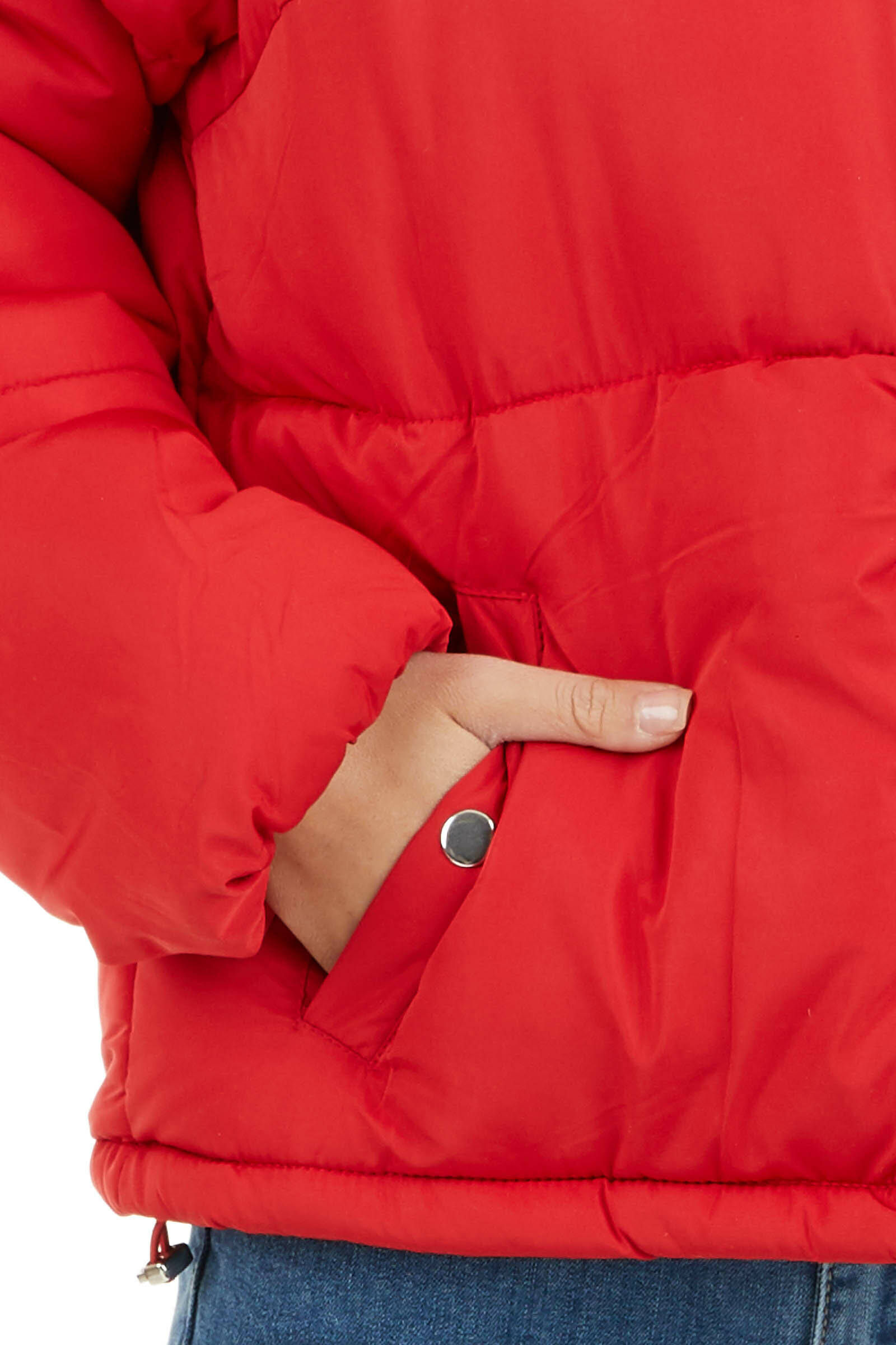 Lipstick Red Long Sleeve Puffy Coat with Pockets detail