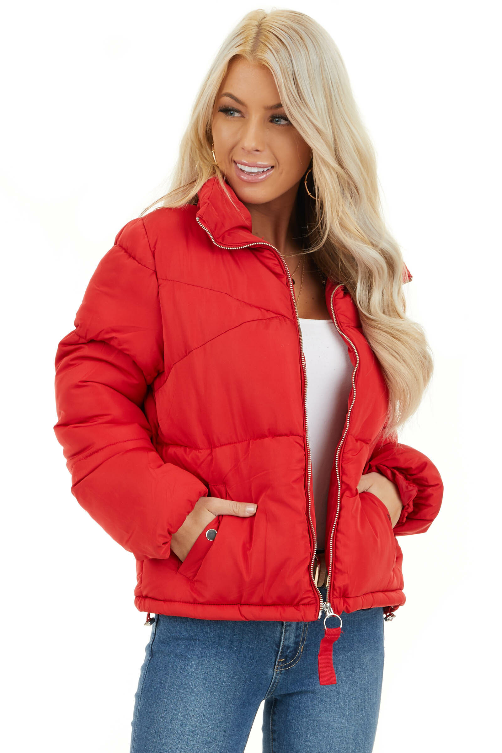 Lipstick Red Long Sleeve Puffy Coat with Pockets front close up