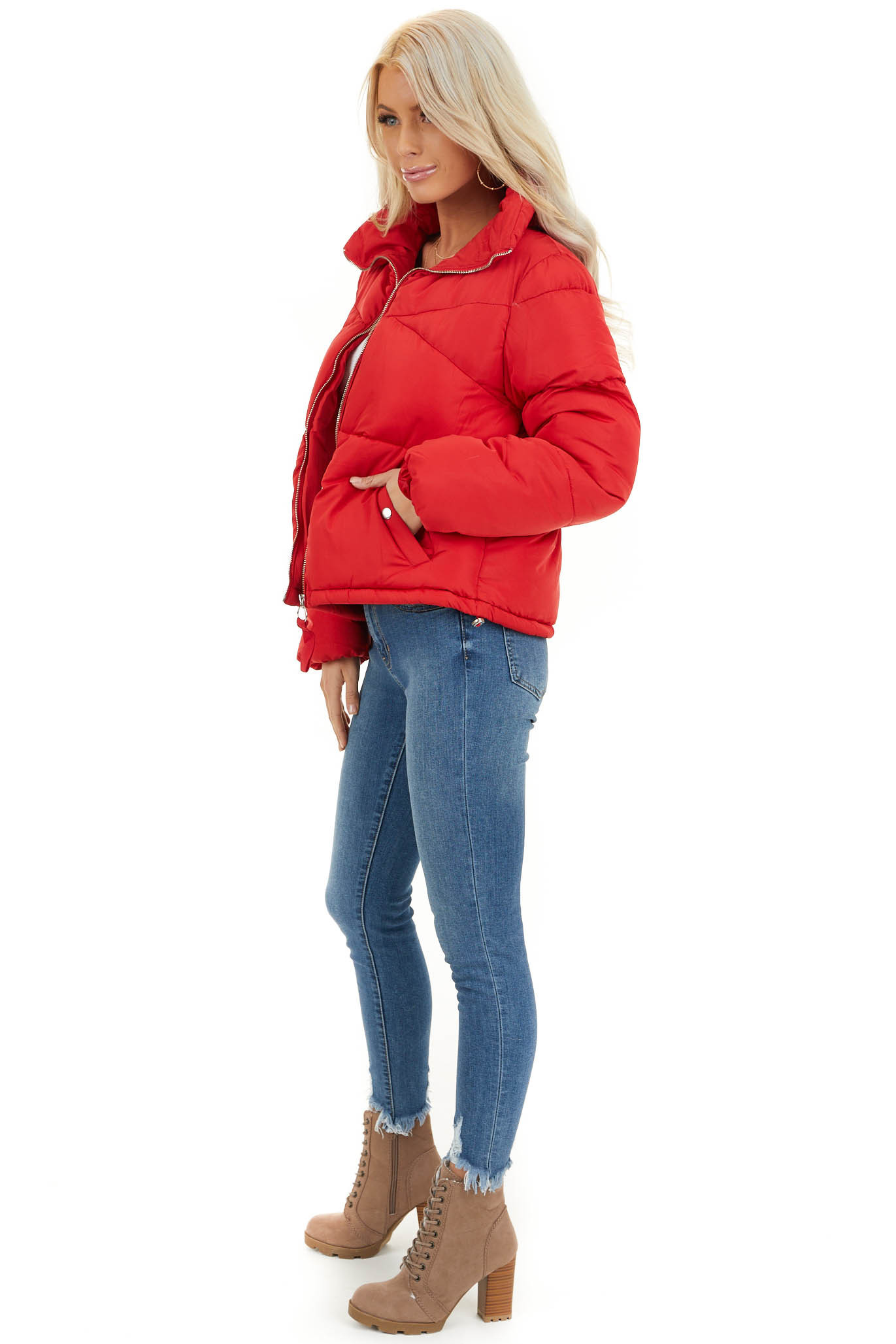 Lipstick Red Long Sleeve Puffy Coat with Pockets side full body