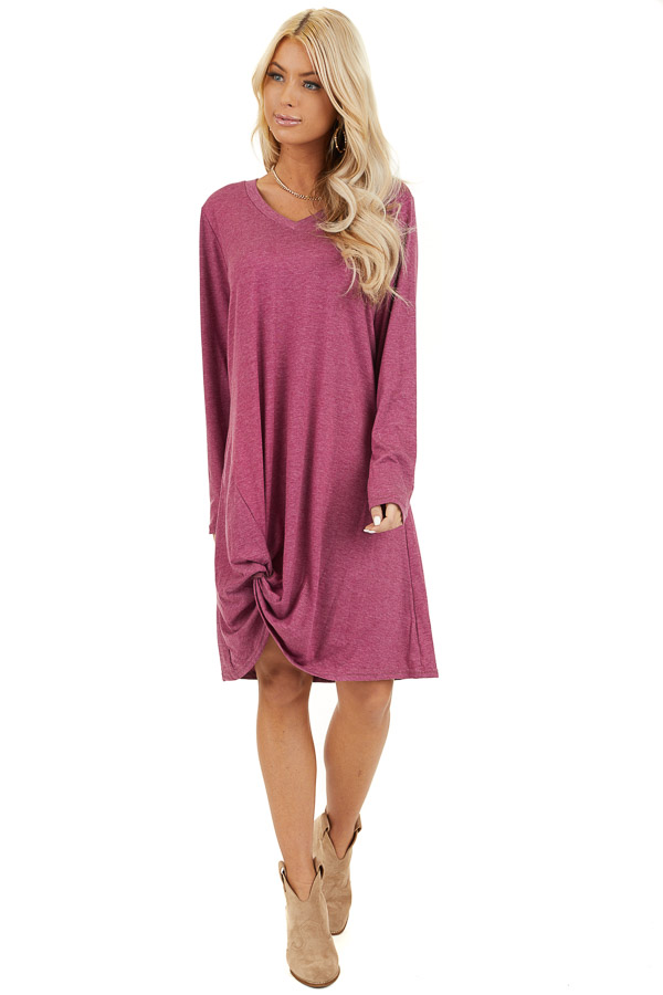 Magenta Long Sleeve V Neck Dress with Hemline Twist Detail front full body