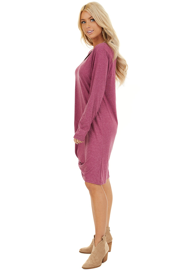 Magenta Long Sleeve V Neck Dress with Hemline Twist Detail side full body