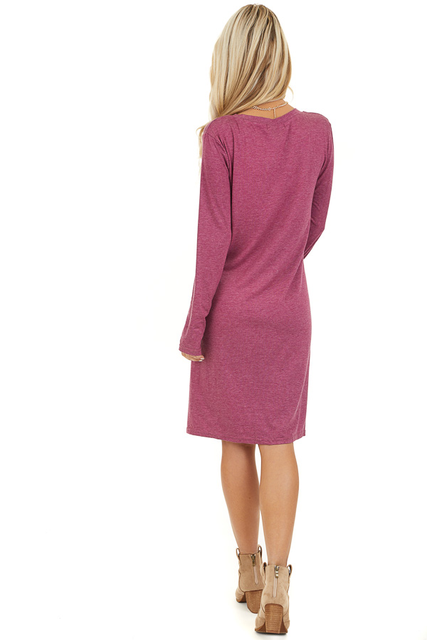 Magenta Long Sleeve V Neck Dress with Hemline Twist Detail back full body