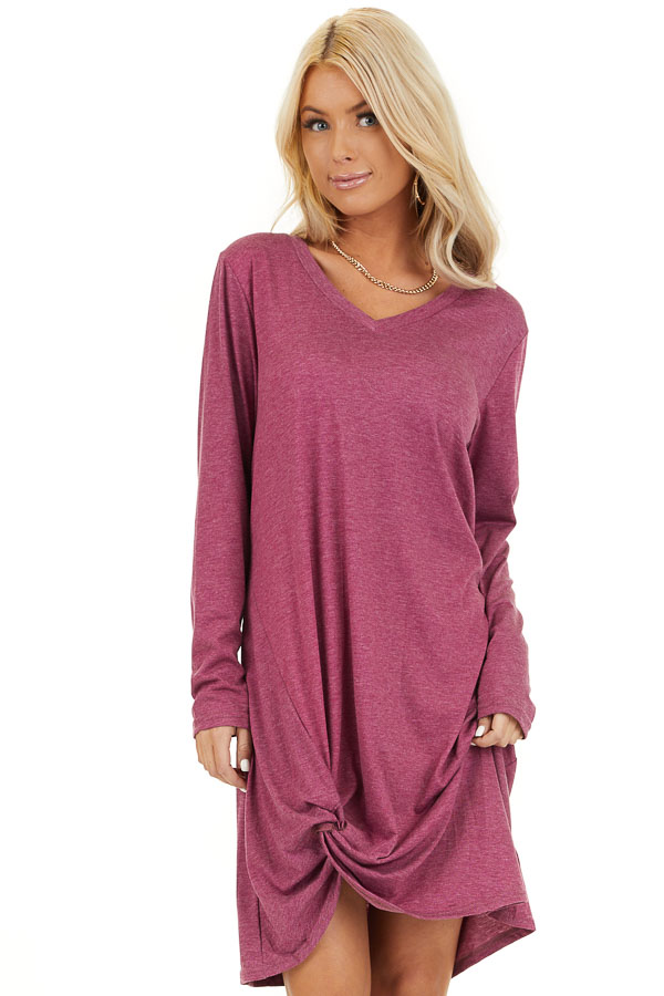 Magenta Long Sleeve V Neck Dress with Hemline Twist Detail