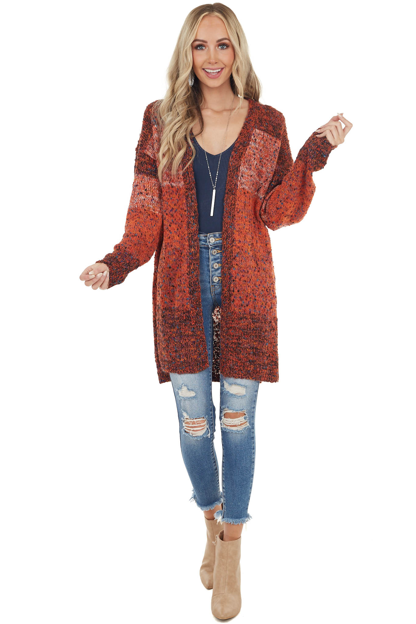 Orange Multicolor Speckled Chunky Knit Long Sleeve Cardigan