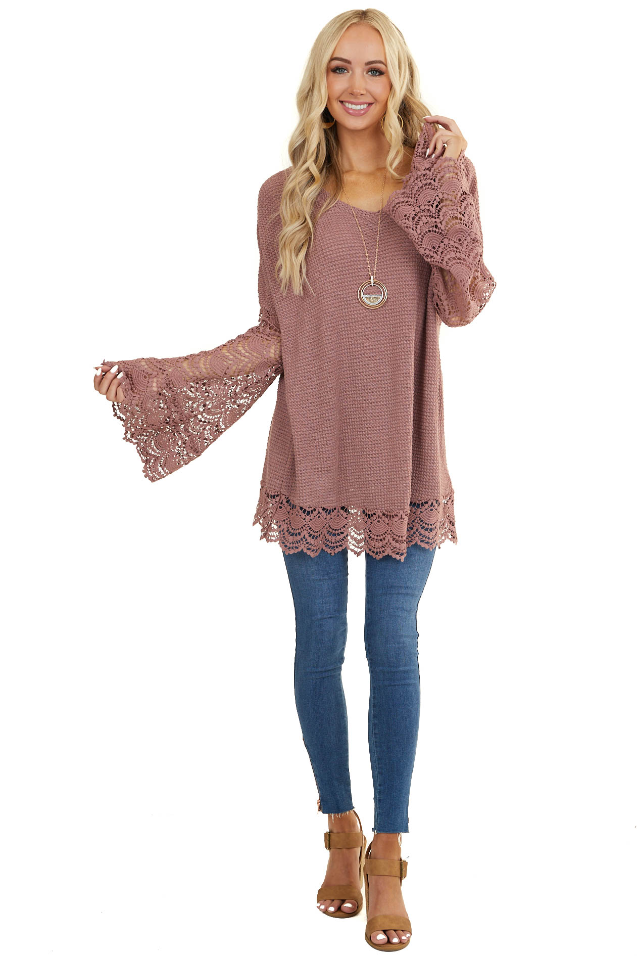 Mauve Textured Knit Top with Lace Bell Sleeves and Trim
