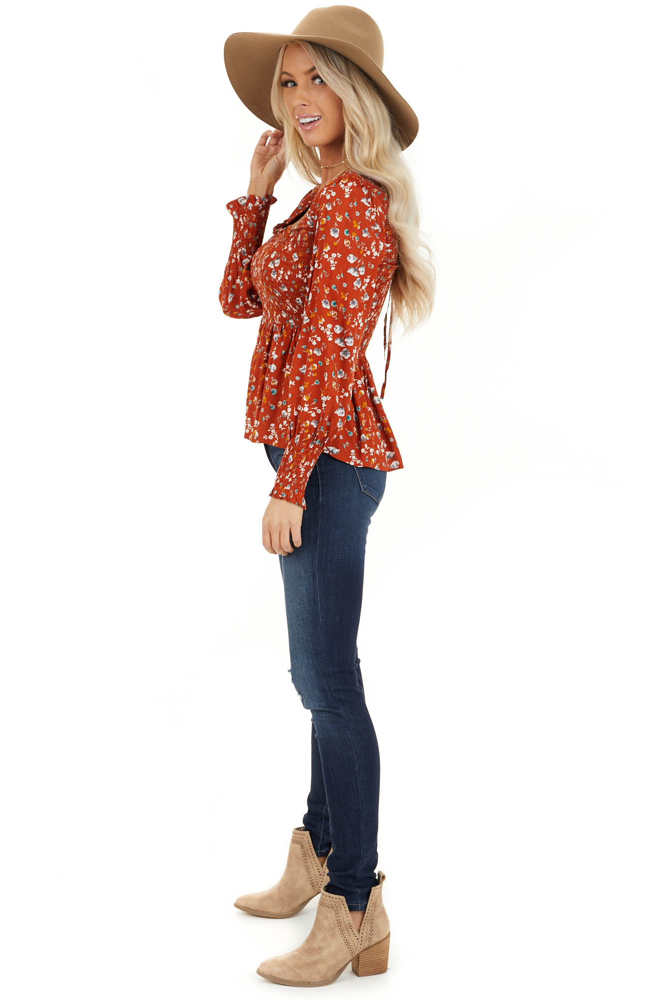 Burnt Orange Floral Ditsy Print Top with Smocked Bust side full body
