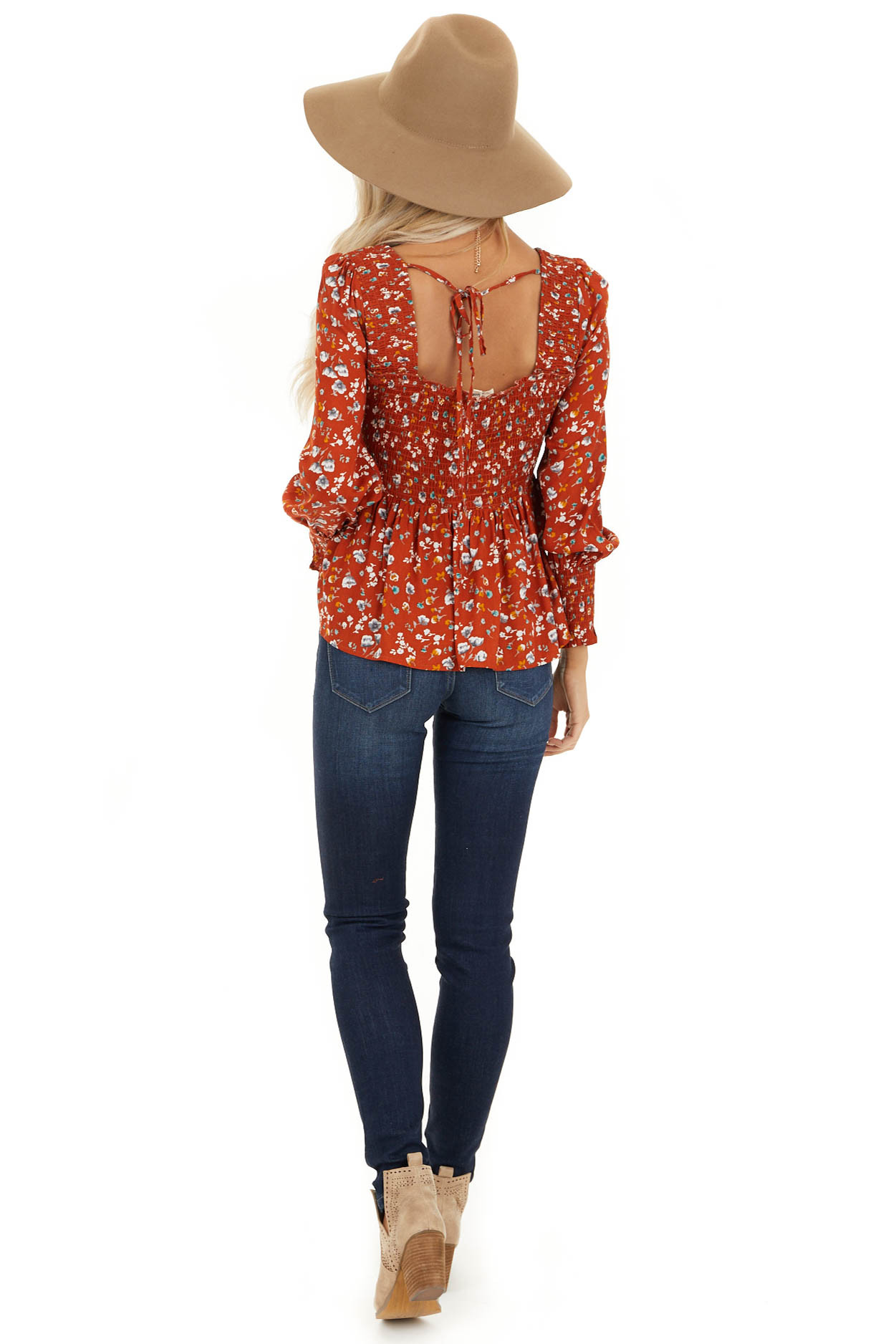 Burnt Orange Floral Ditsy Print Top with Smocked Bust back full body