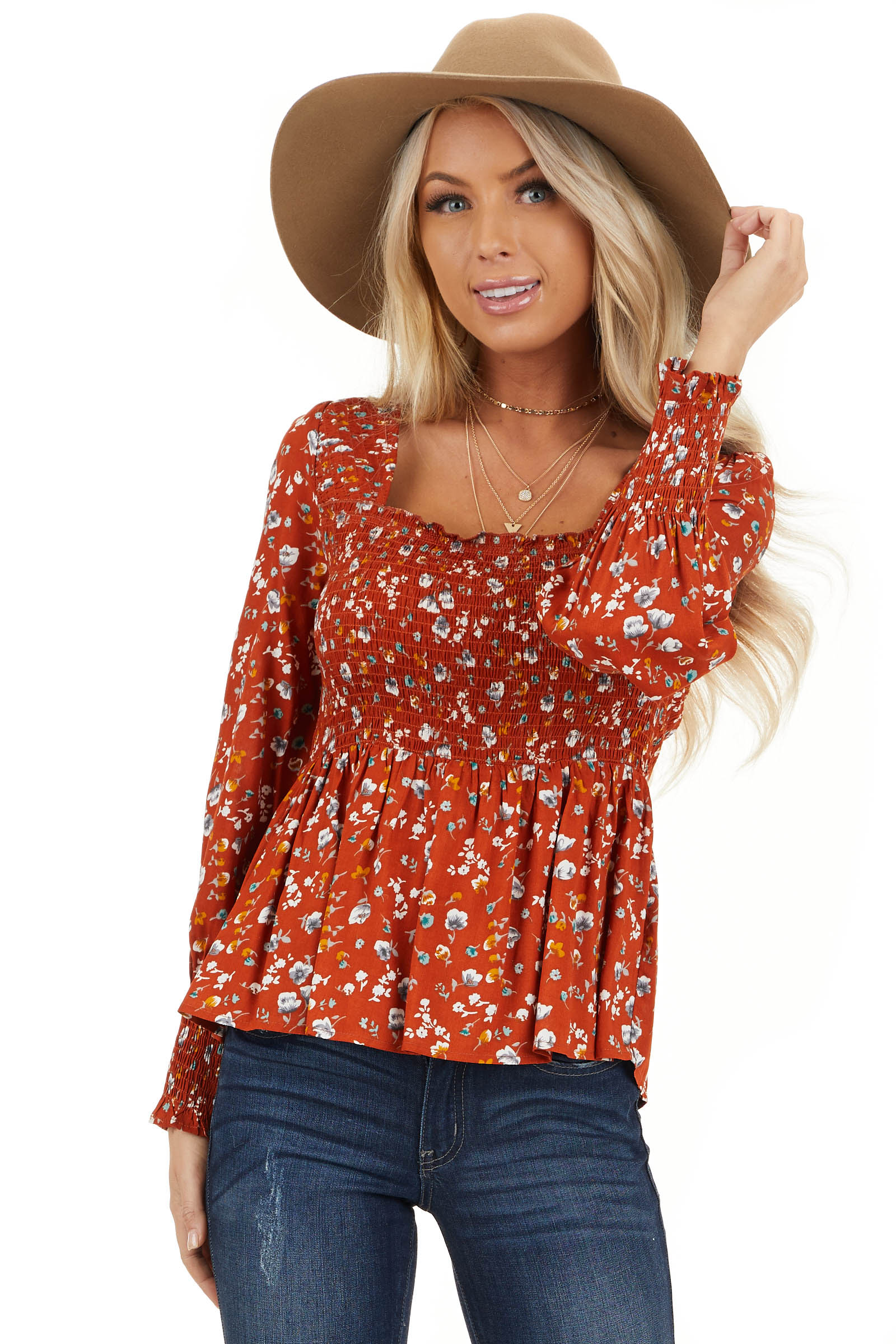 Burnt Orange Floral Ditsy Print Top with Smocked Bust front close up