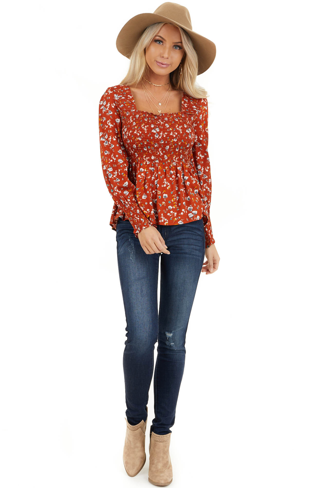 Burnt Orange Floral Ditsy Print Top with Smocked Bust front full body
