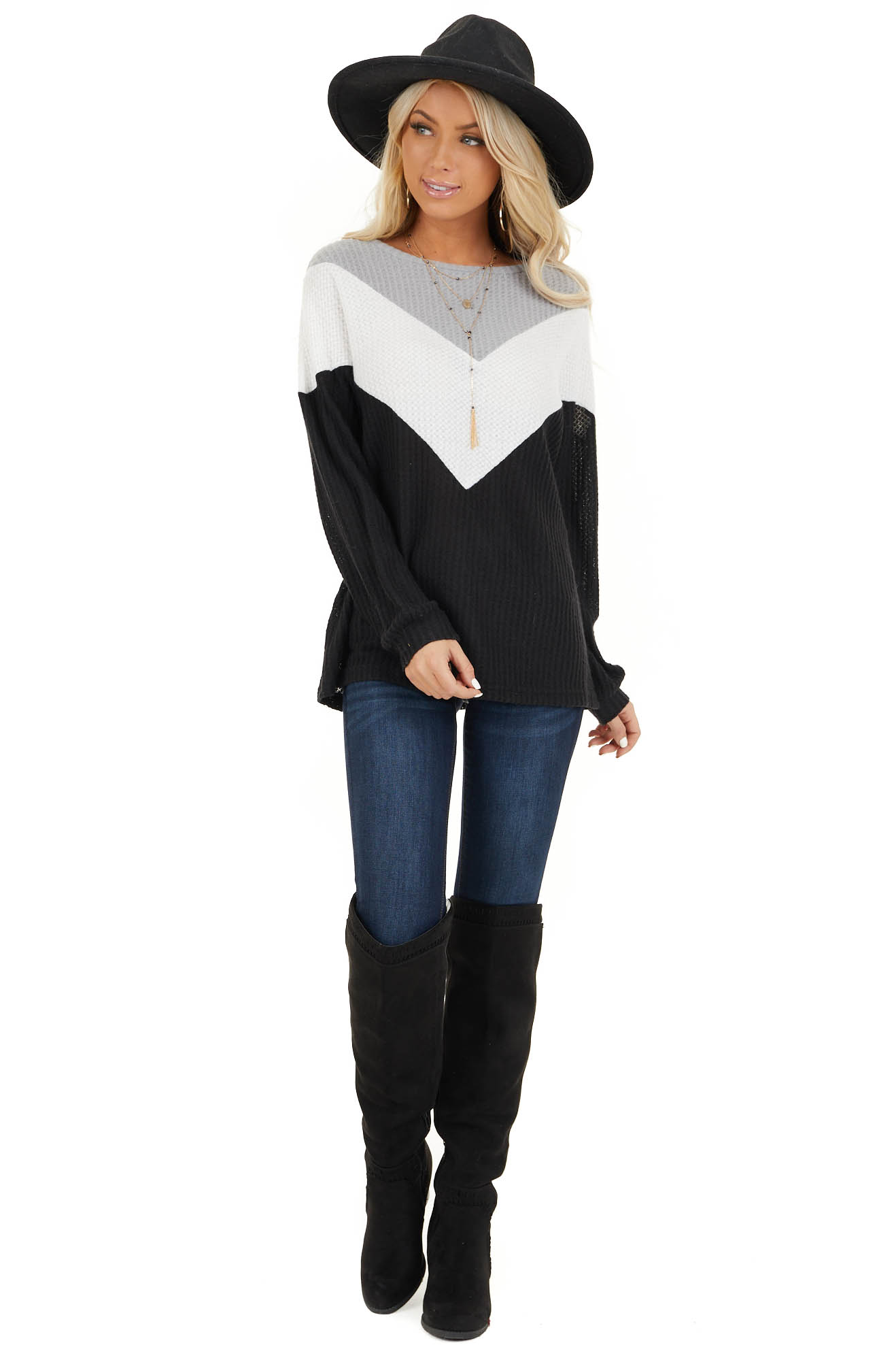 Black Ivory and Heather Grey Color Block Waffle Knit Top front full body
