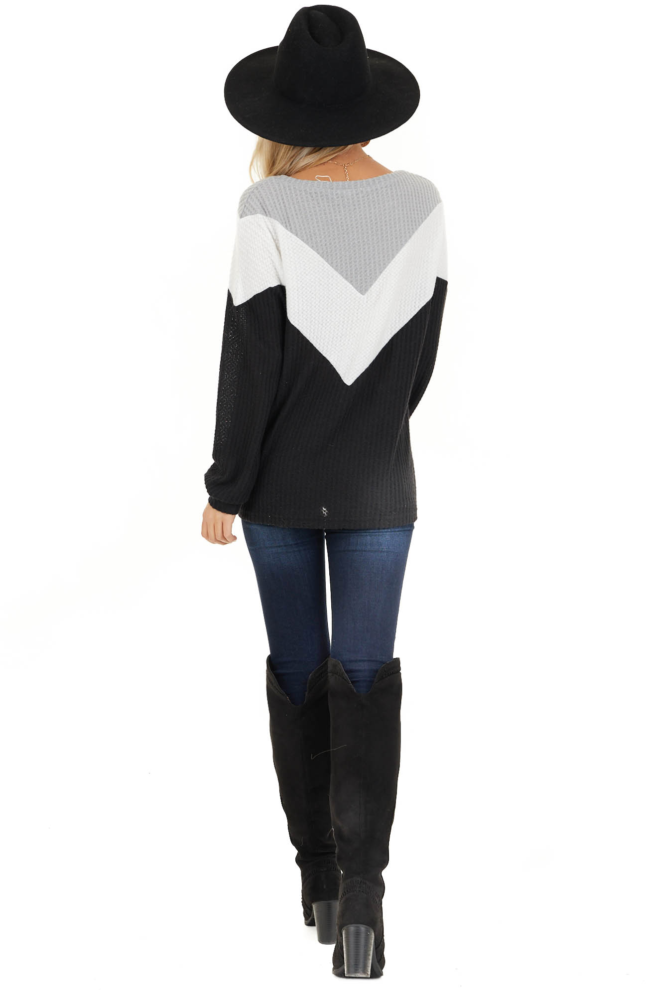 Black Ivory and Heather Grey Color Block Waffle Knit Top back full body