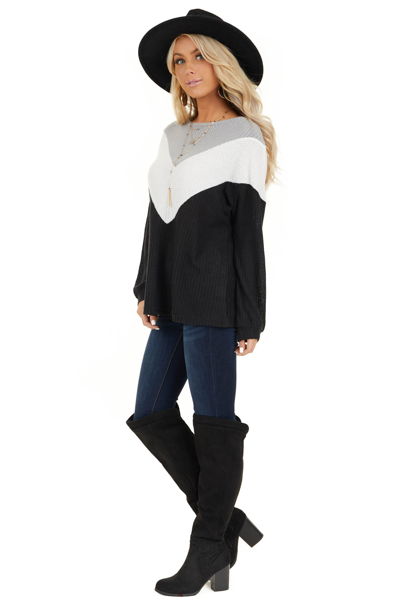 Black Ivory and Heather Grey Color Block Waffle Knit Top side full body