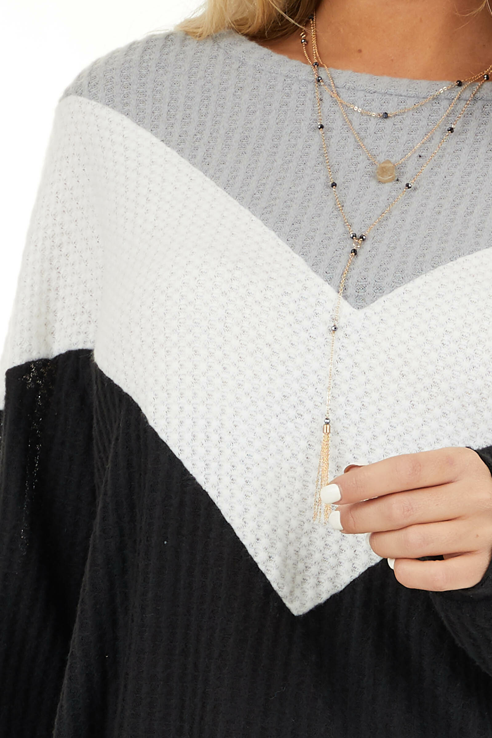 Black Ivory and Heather Grey Color Block Waffle Knit Top detail