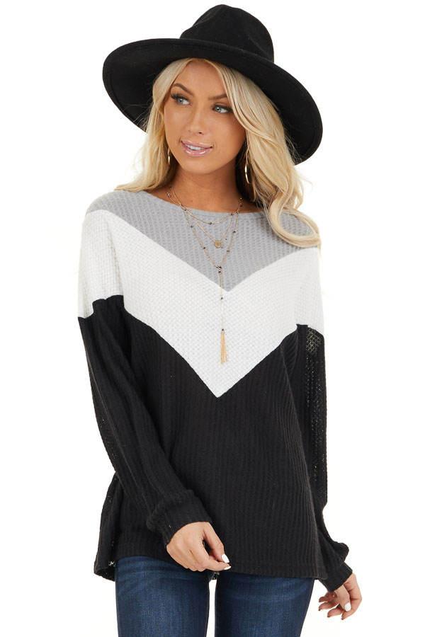 Black Ivory and Heather Grey Color Block Waffle Knit Top front close up
