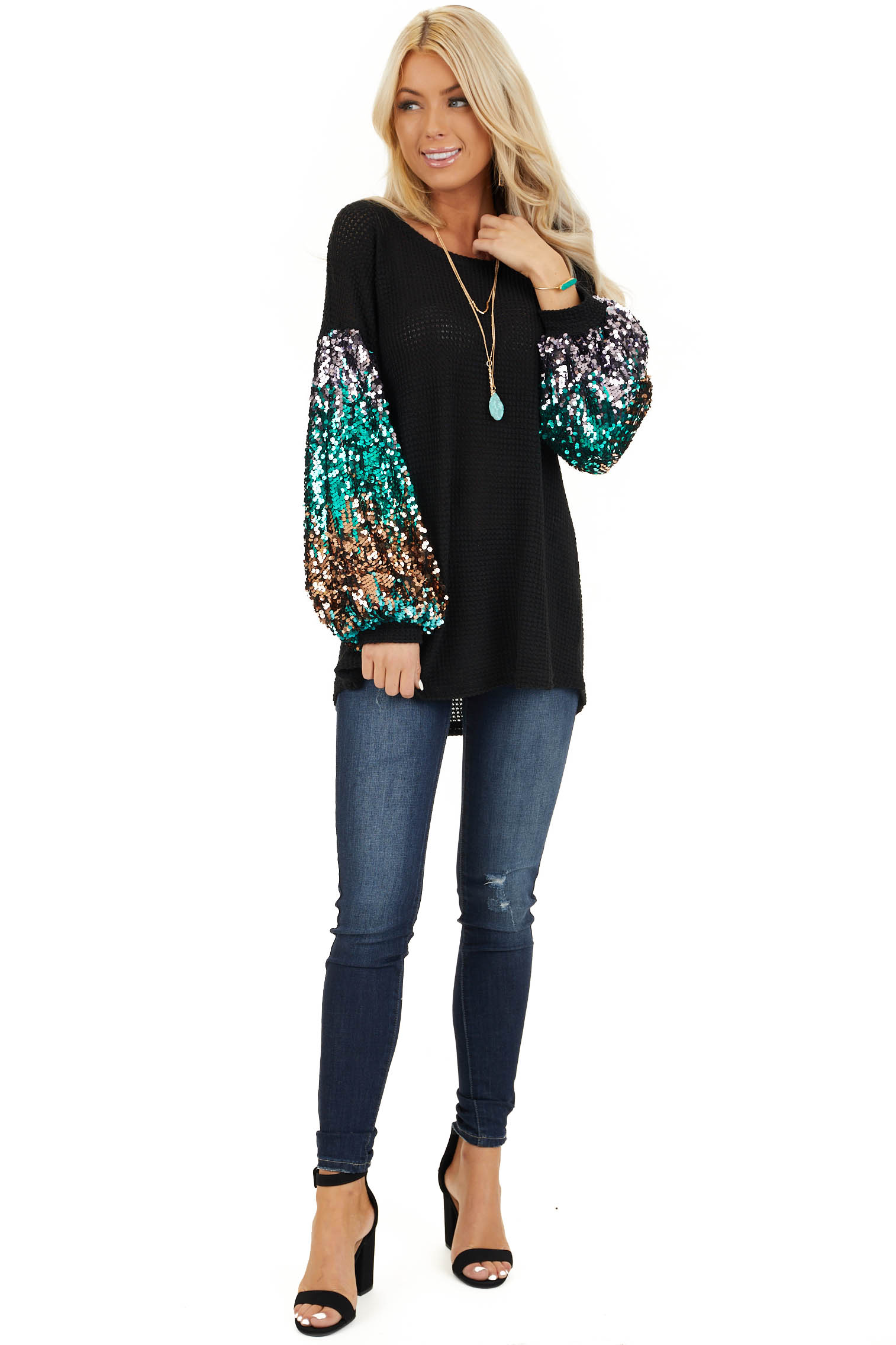 Black Waffle Knit Top with Long Colorful Sequined Sleeves front full body