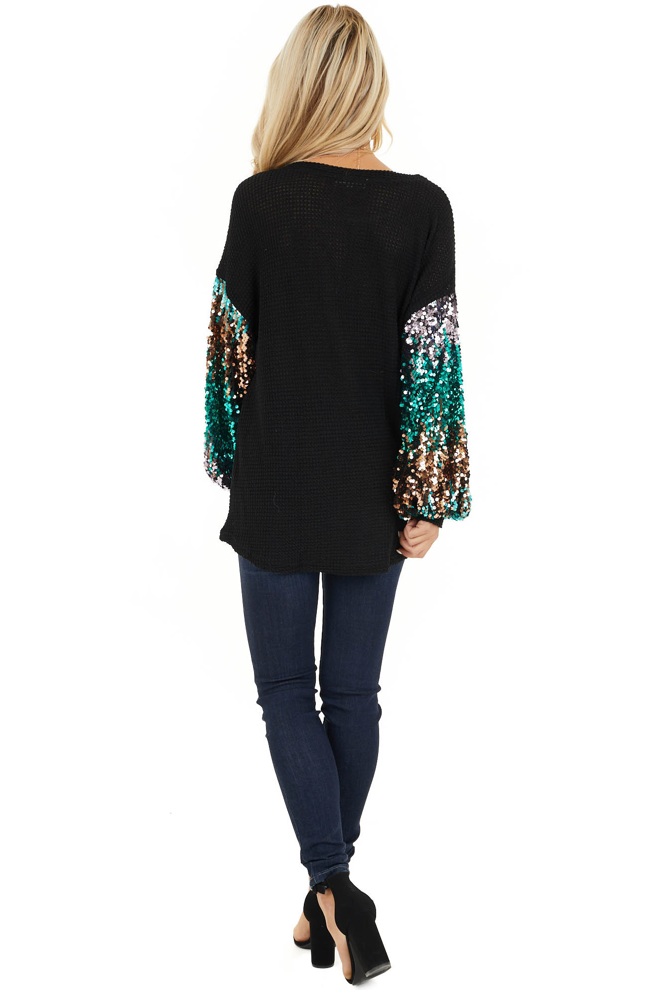 Black Waffle Knit Top with Long Colorful Sequined Sleeves back full body