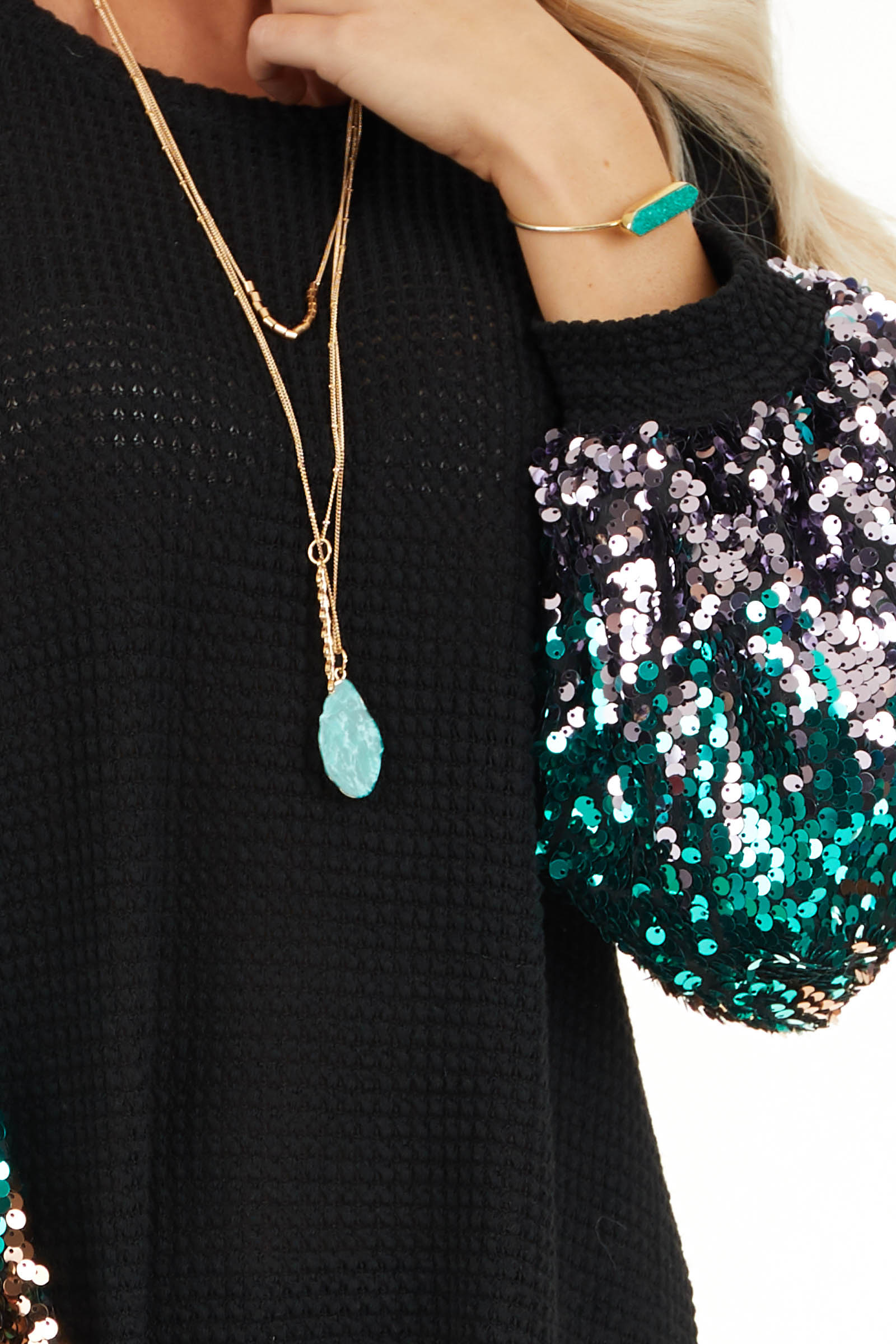 Black Waffle Knit Top with Long Colorful Sequined Sleeves detail