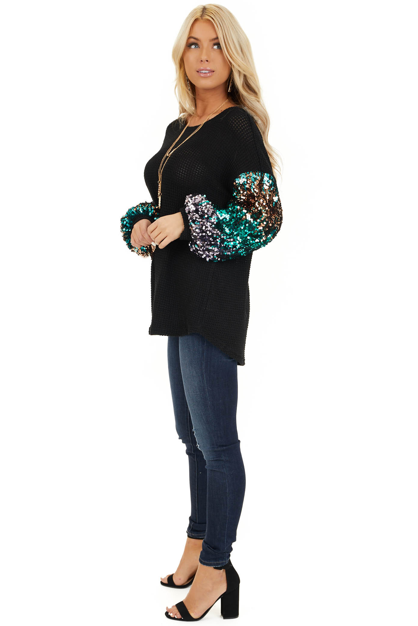 Black Waffle Knit Top with Long Colorful Sequined Sleeves side full body