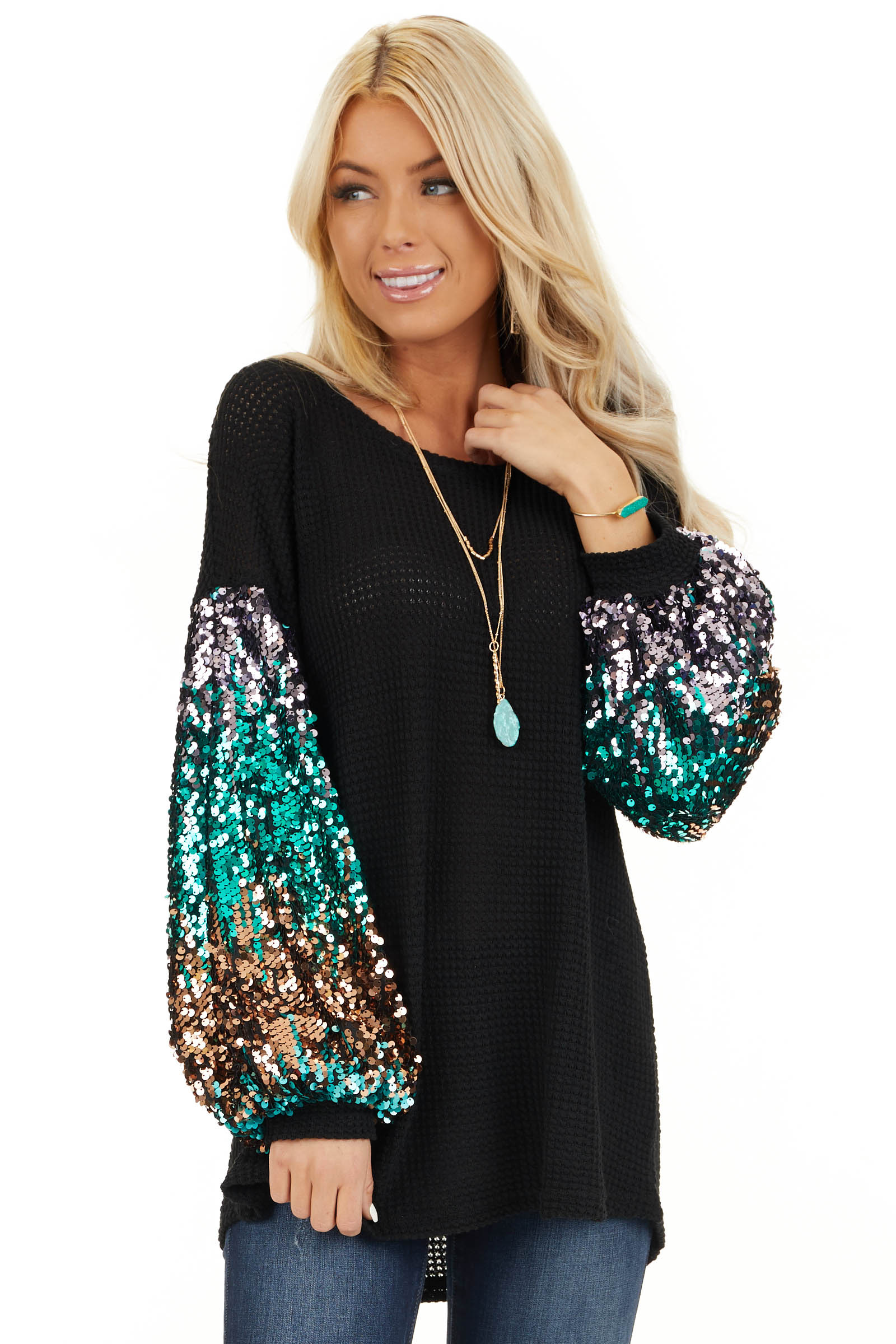 Black Waffle Knit Top with Long Colorful Sequined Sleeves front close up