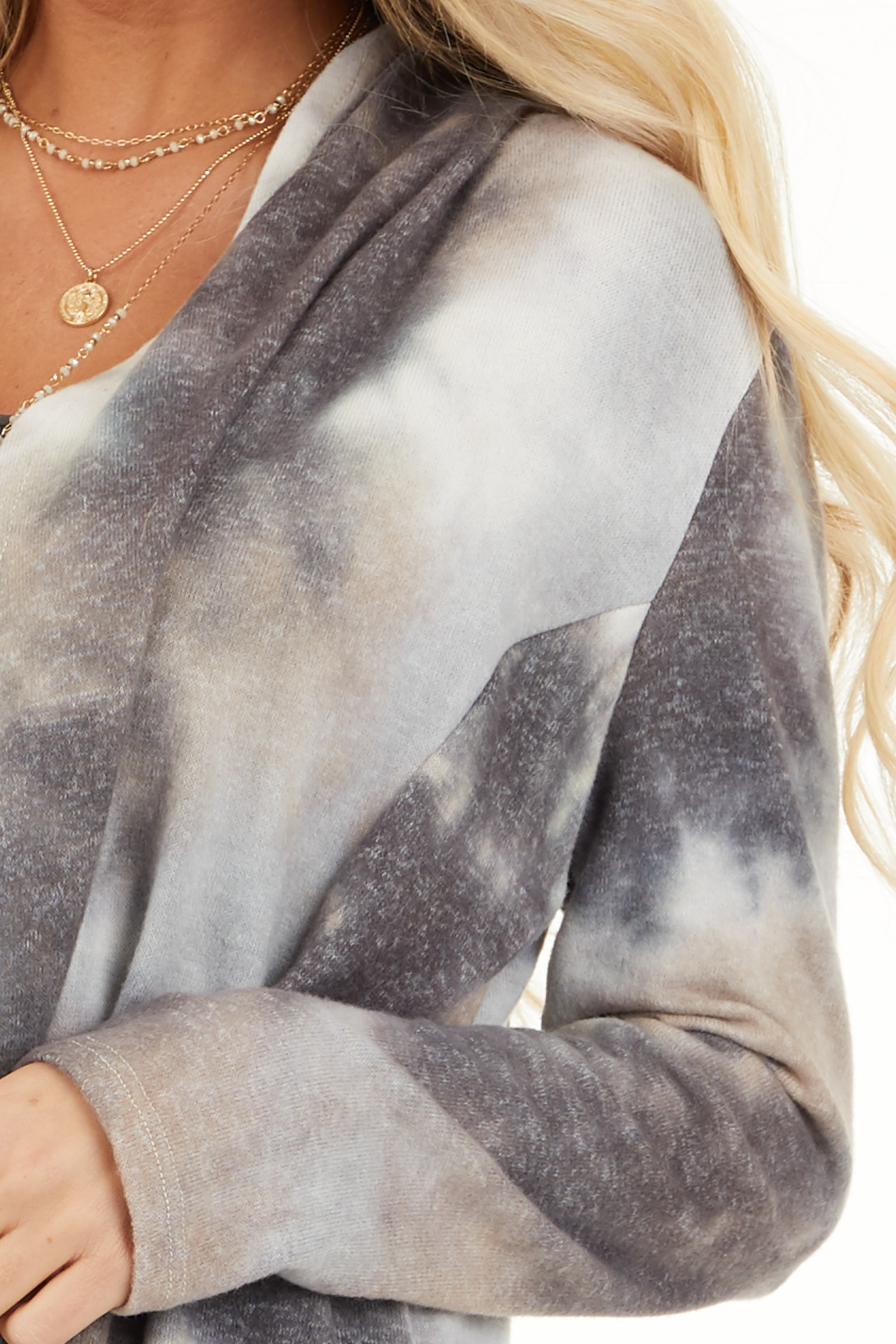 Charcoal and Taupe Tie Dye Open Front Long Sleeve Cardigan detail