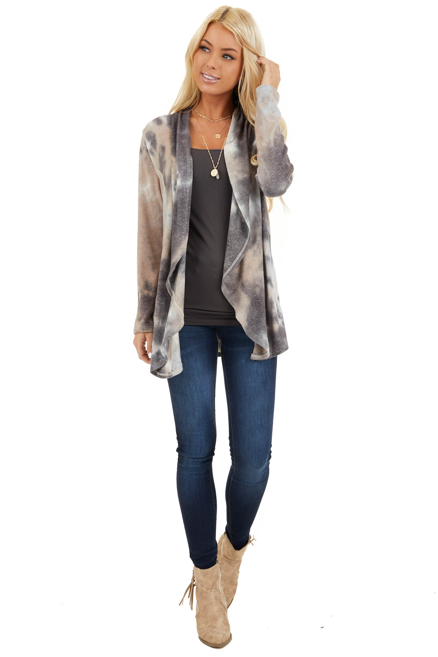 Charcoal and Taupe Tie Dye Open Front Long Sleeve Cardigan front full body