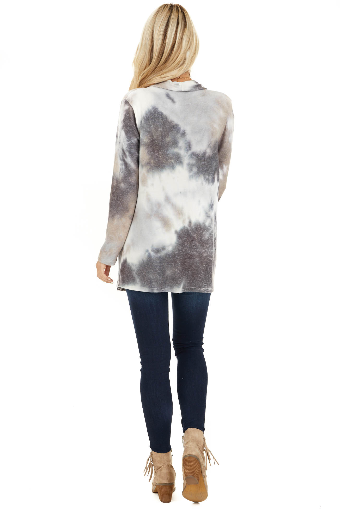 Charcoal and Taupe Tie Dye Open Front Long Sleeve Cardigan back full body