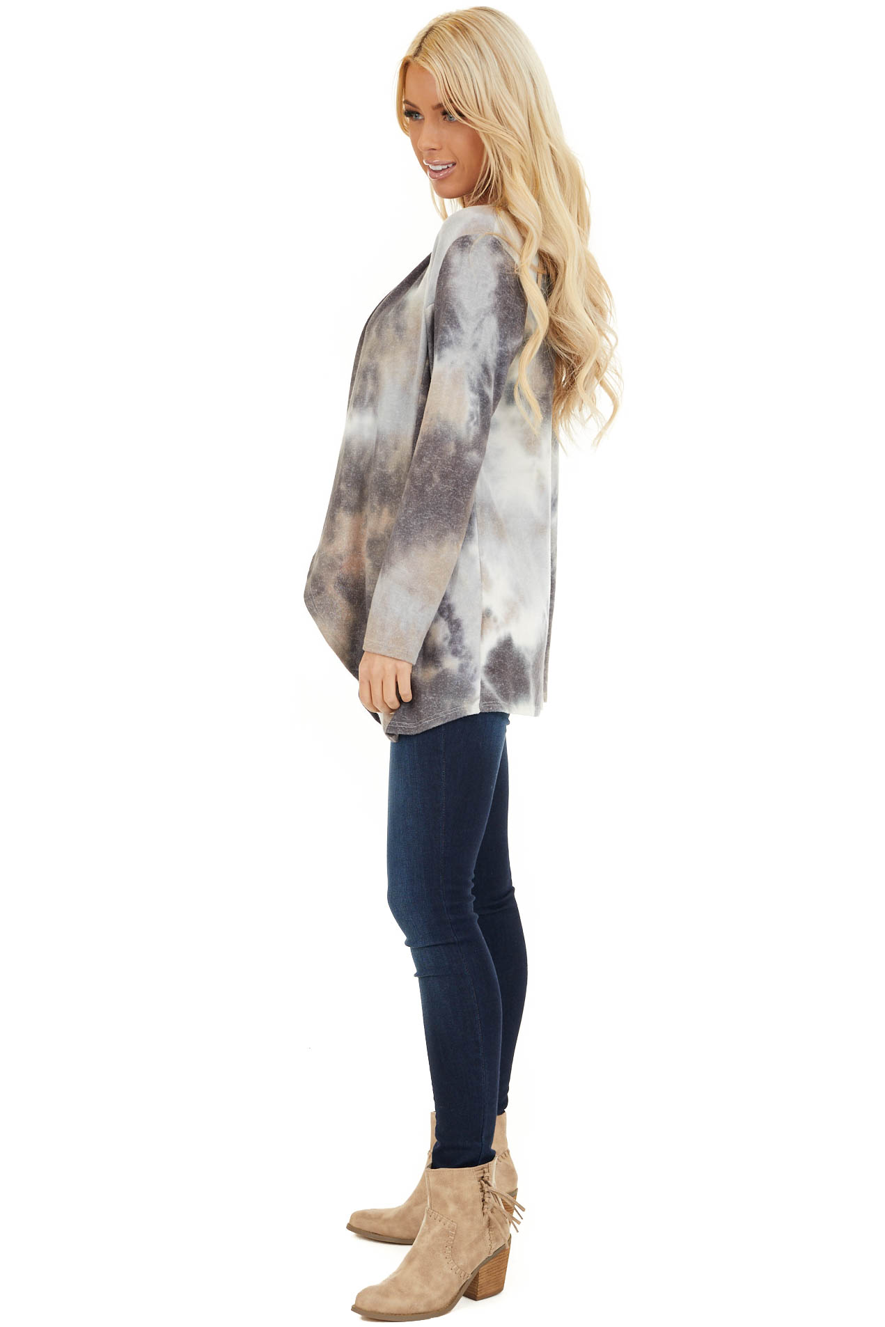 Charcoal and Taupe Tie Dye Open Front Long Sleeve Cardigan side full body