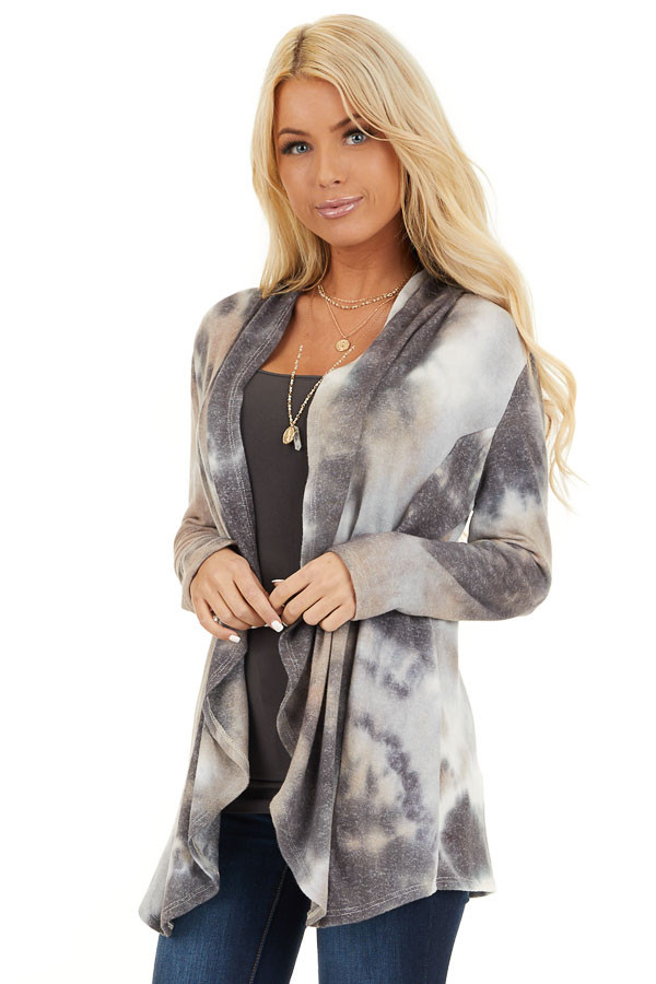 Charcoal and Taupe Tie Dye Open Front Long Sleeve Cardigan front close up