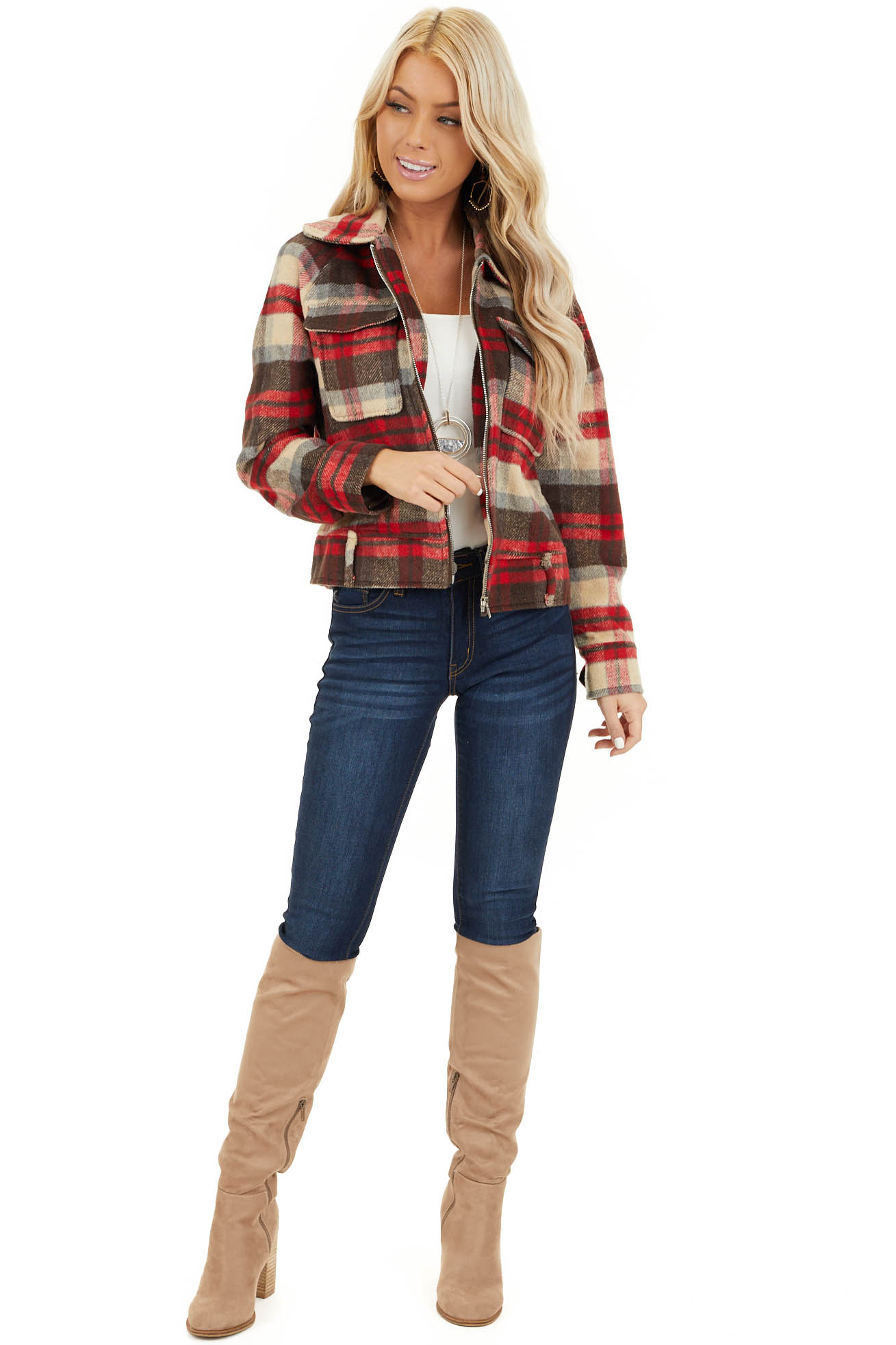 Ruby Red and Chocolate Zip Up Plaid Print Flannel Jacket front full body