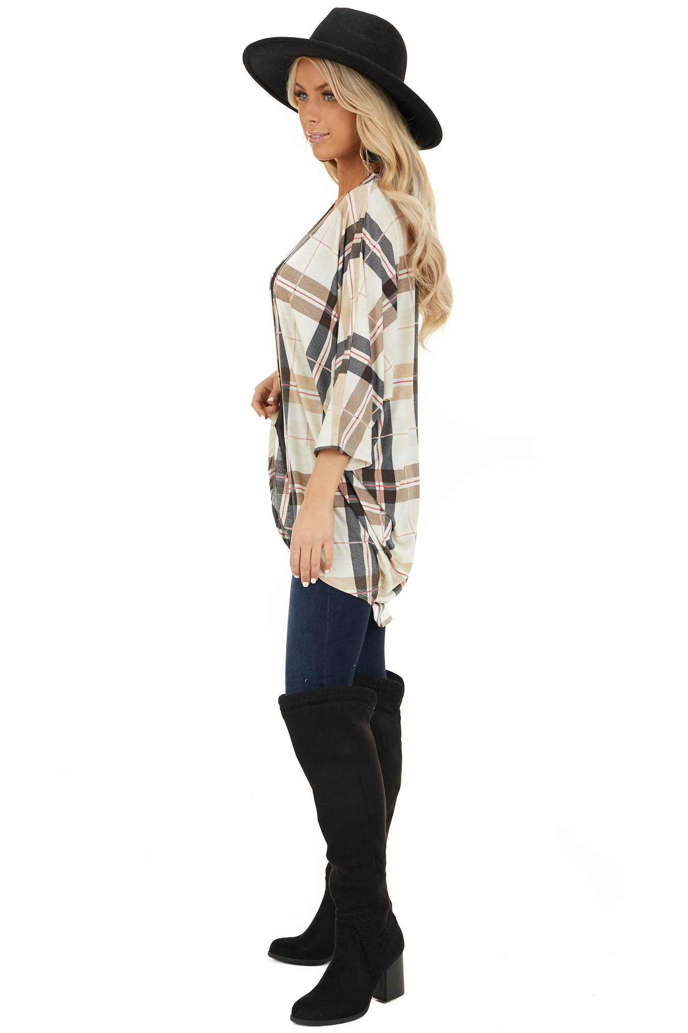 Ivory Plaid Open Front Cardigan with 3/4 Length Sleeves side full body