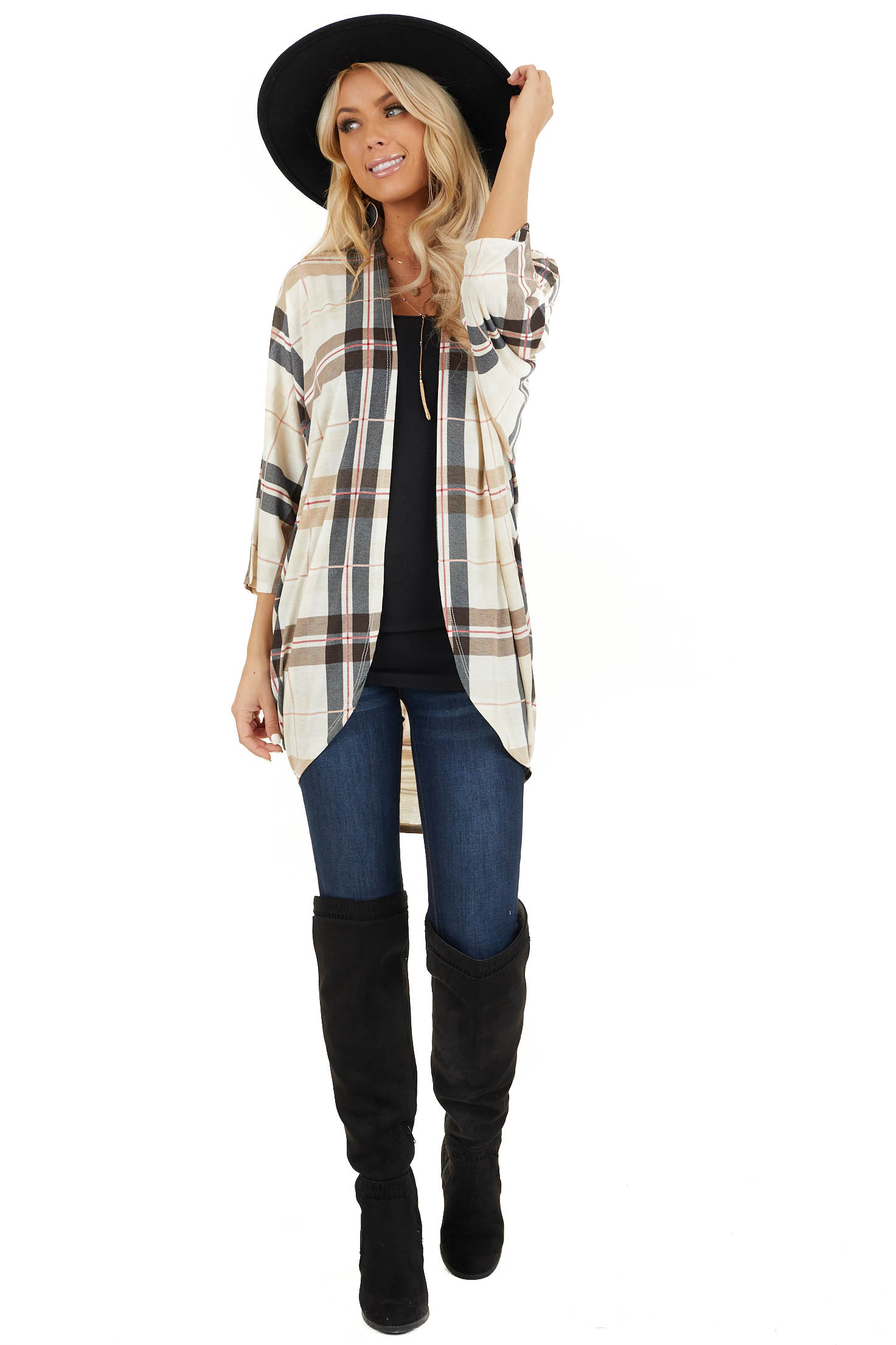 Ivory Plaid Open Front Cardigan with 3/4 Length Sleeves front full body