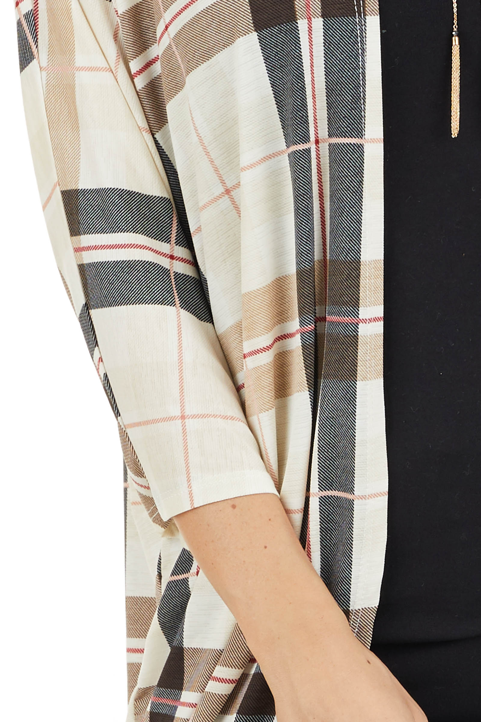 Ivory Plaid Open Front Cardigan with 3/4 Length Sleeves detail