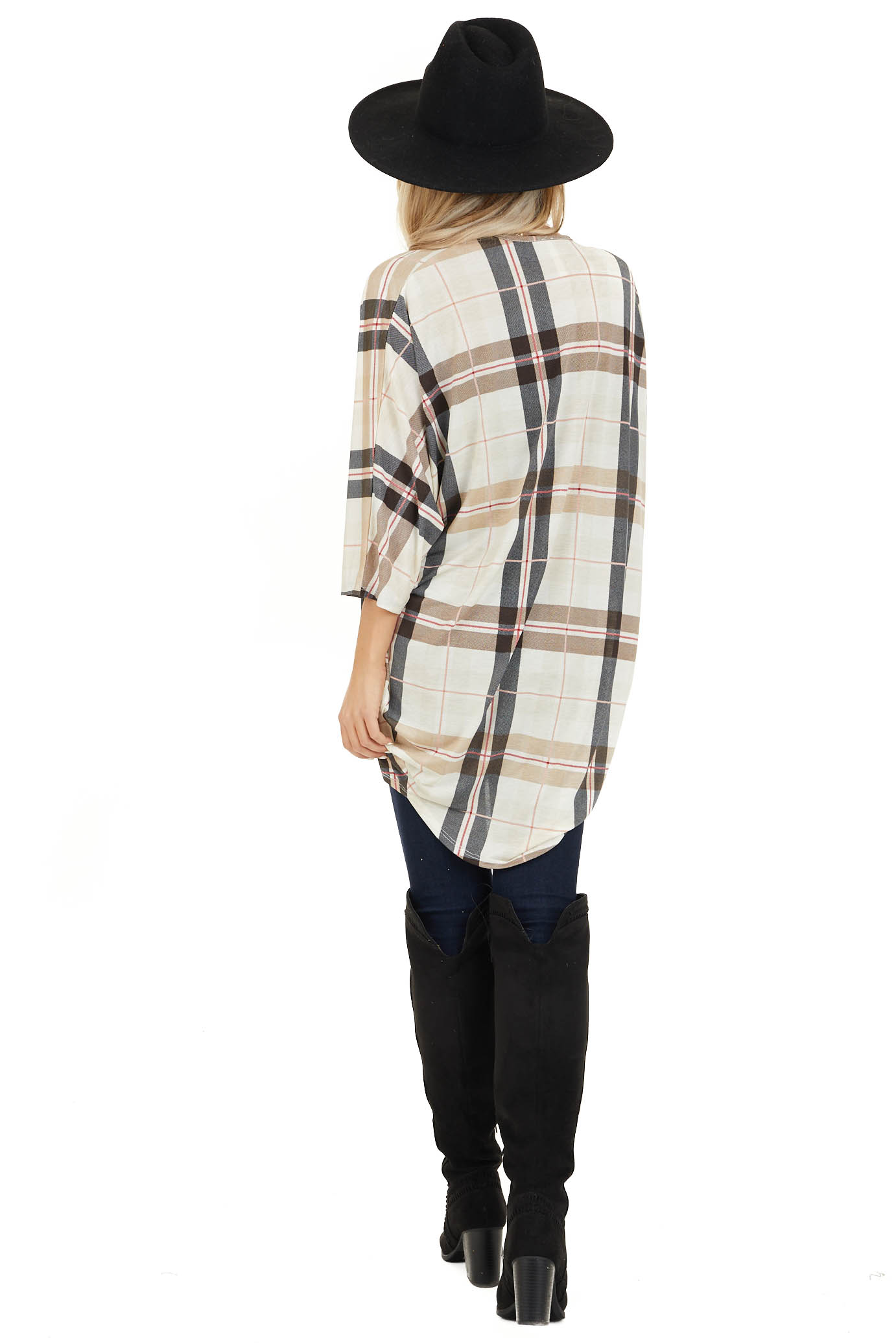 Ivory Plaid Open Front Cardigan with 3/4 Length Sleeves back full body