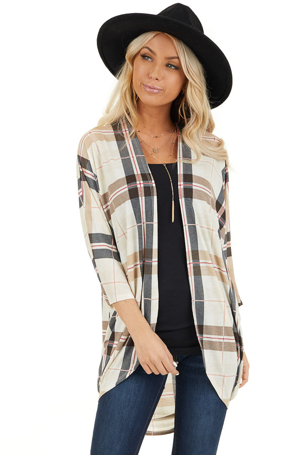 Ivory Plaid Open Front Cardigan with 3/4 Length Sleeves front close up