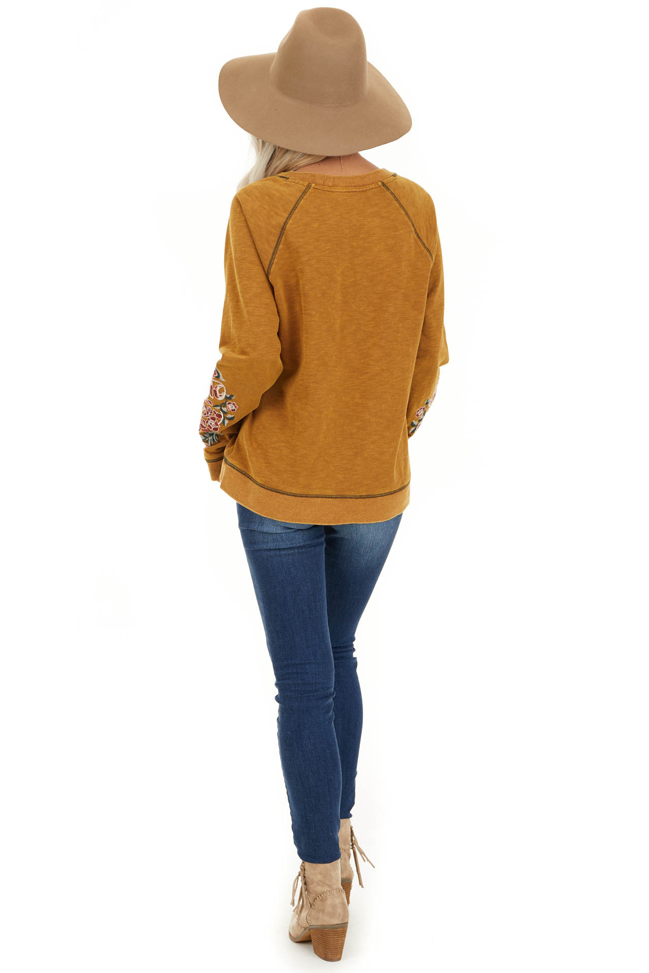 Mustard Acid Wash Long Sleeve Top with Embroidered Sleeves back full body