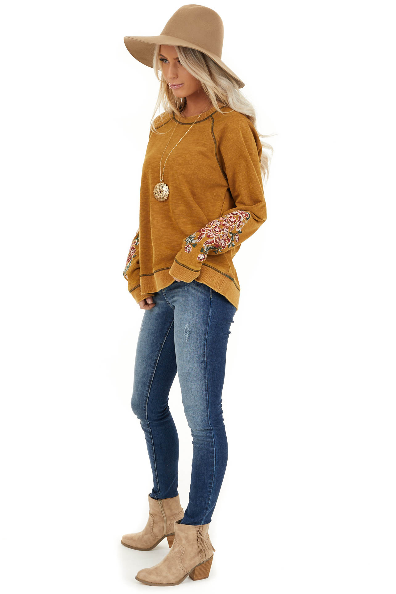 Mustard Acid Wash Long Sleeve Top with Embroidered Sleeves side full body