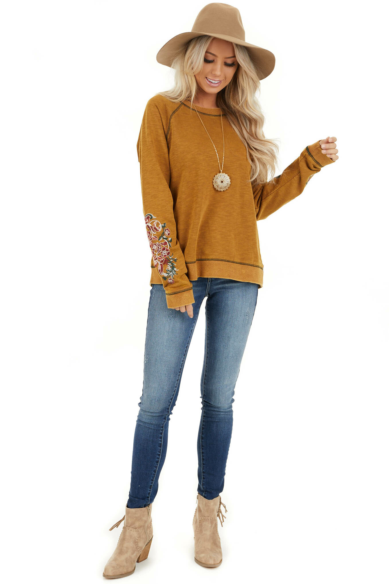 Mustard Acid Wash Long Sleeve Top with Embroidered Sleeves front full body