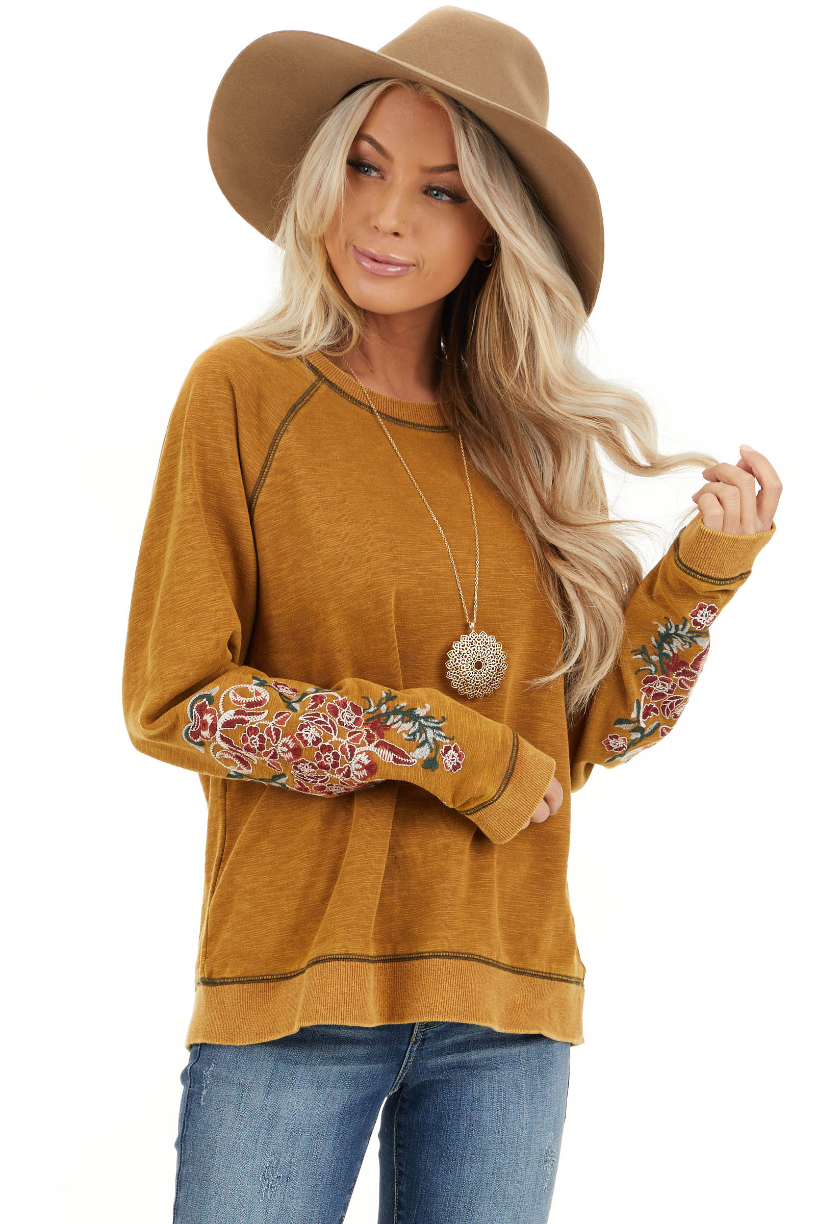 Mustard Acid Wash Long Sleeve Top with Embroidered Sleeves front close up