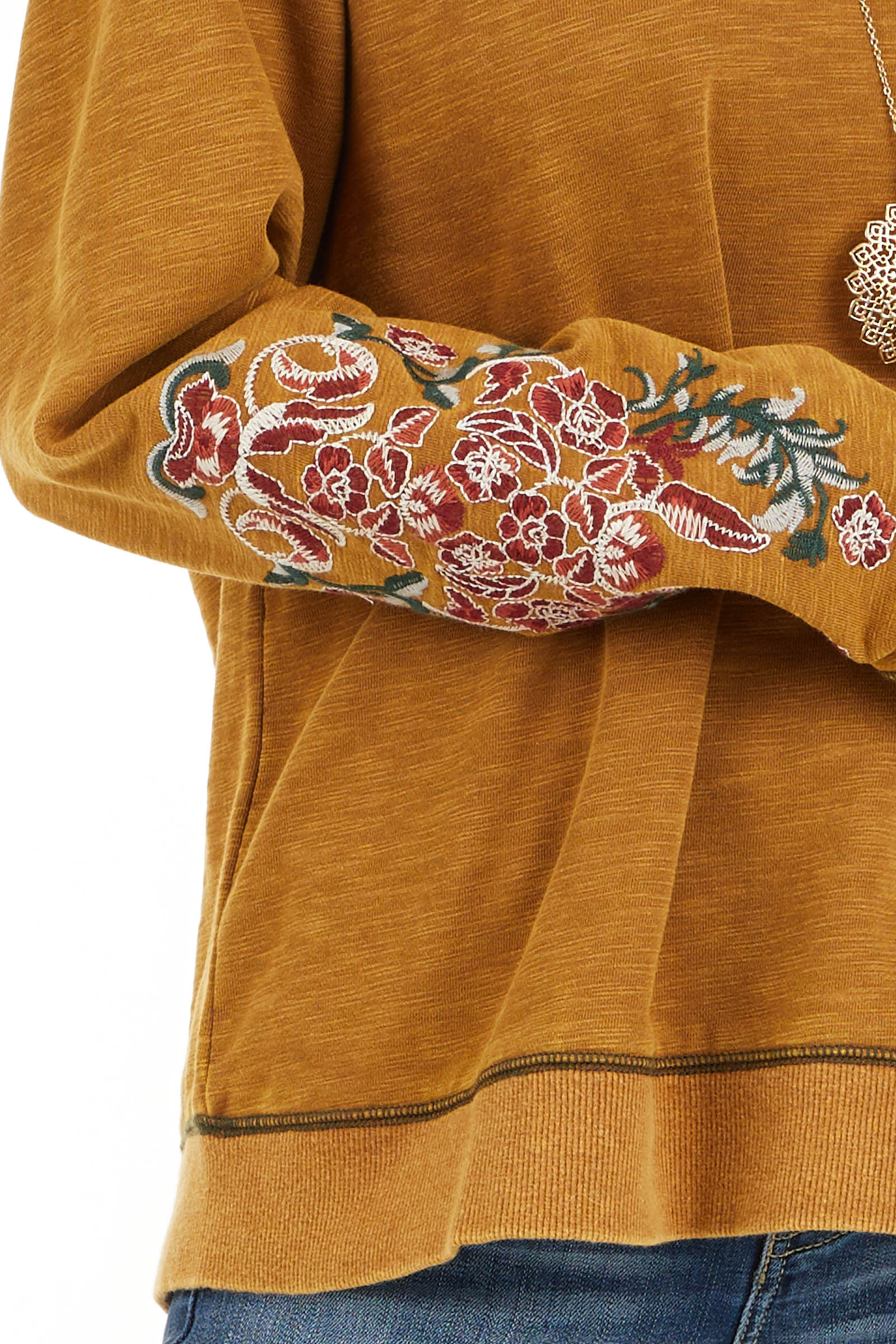 Mustard Acid Wash Long Sleeve Top with Embroidered Sleeves detail