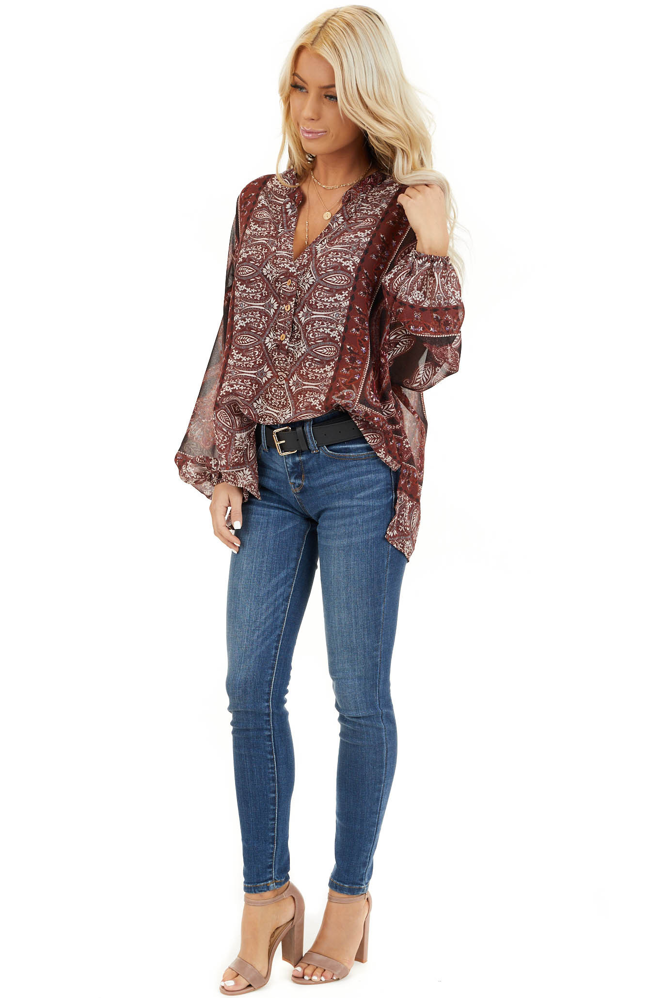 Burgundy Paisley Print Sheer Button Up Blouse side full body