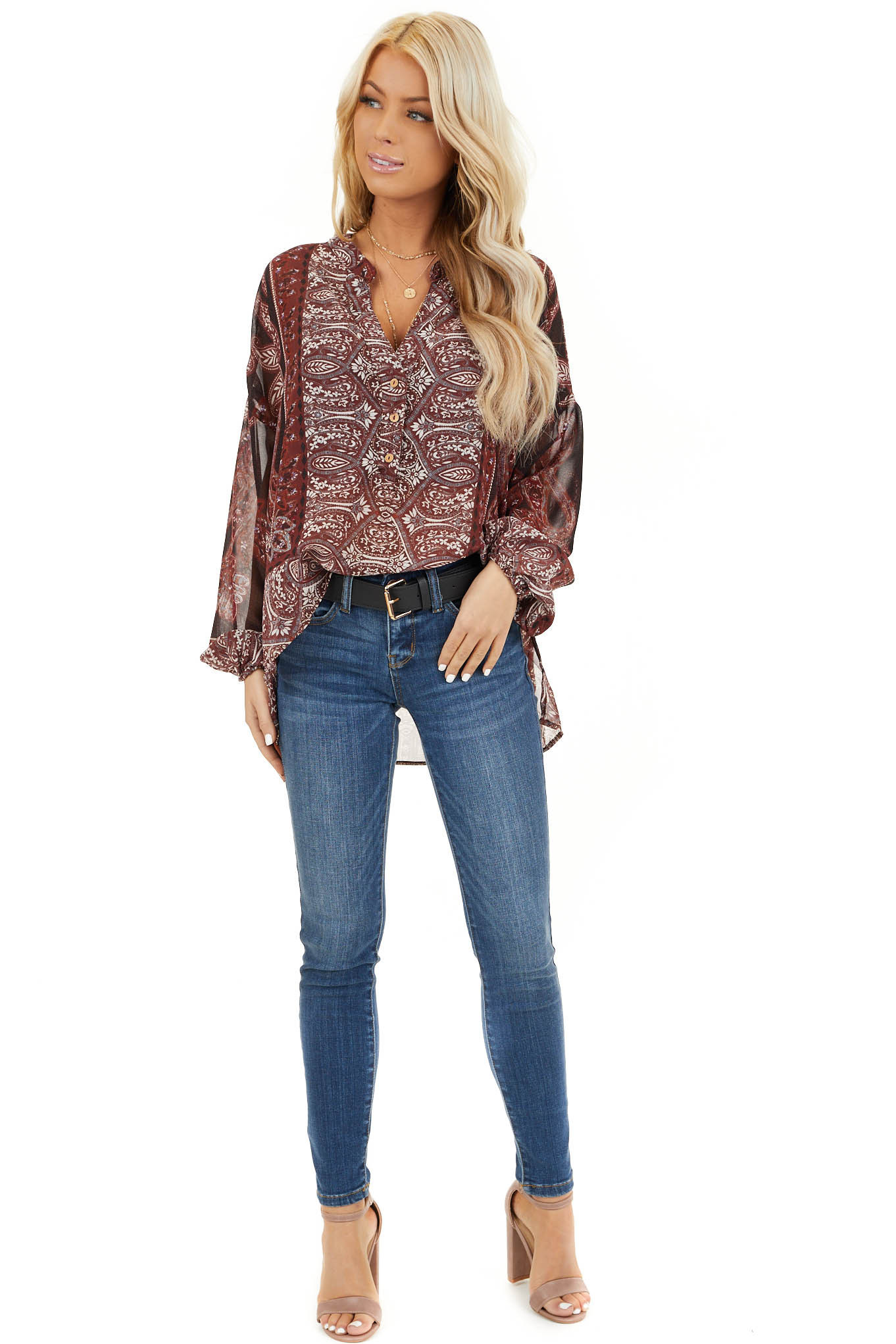 Burgundy Paisley Print Sheer Button Up Blouse front full body