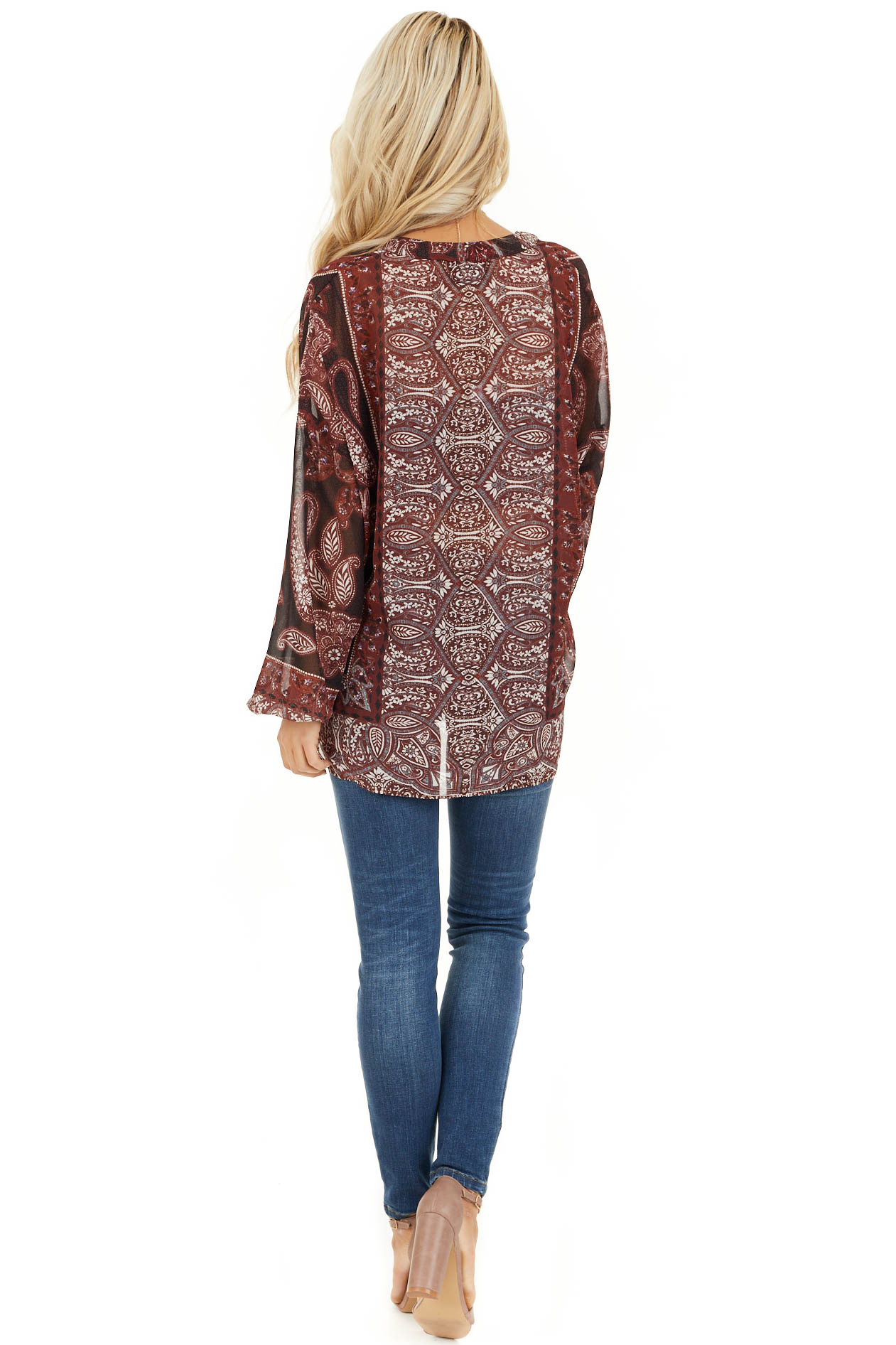 Burgundy Paisley Print Sheer Button Up Blouse back full body