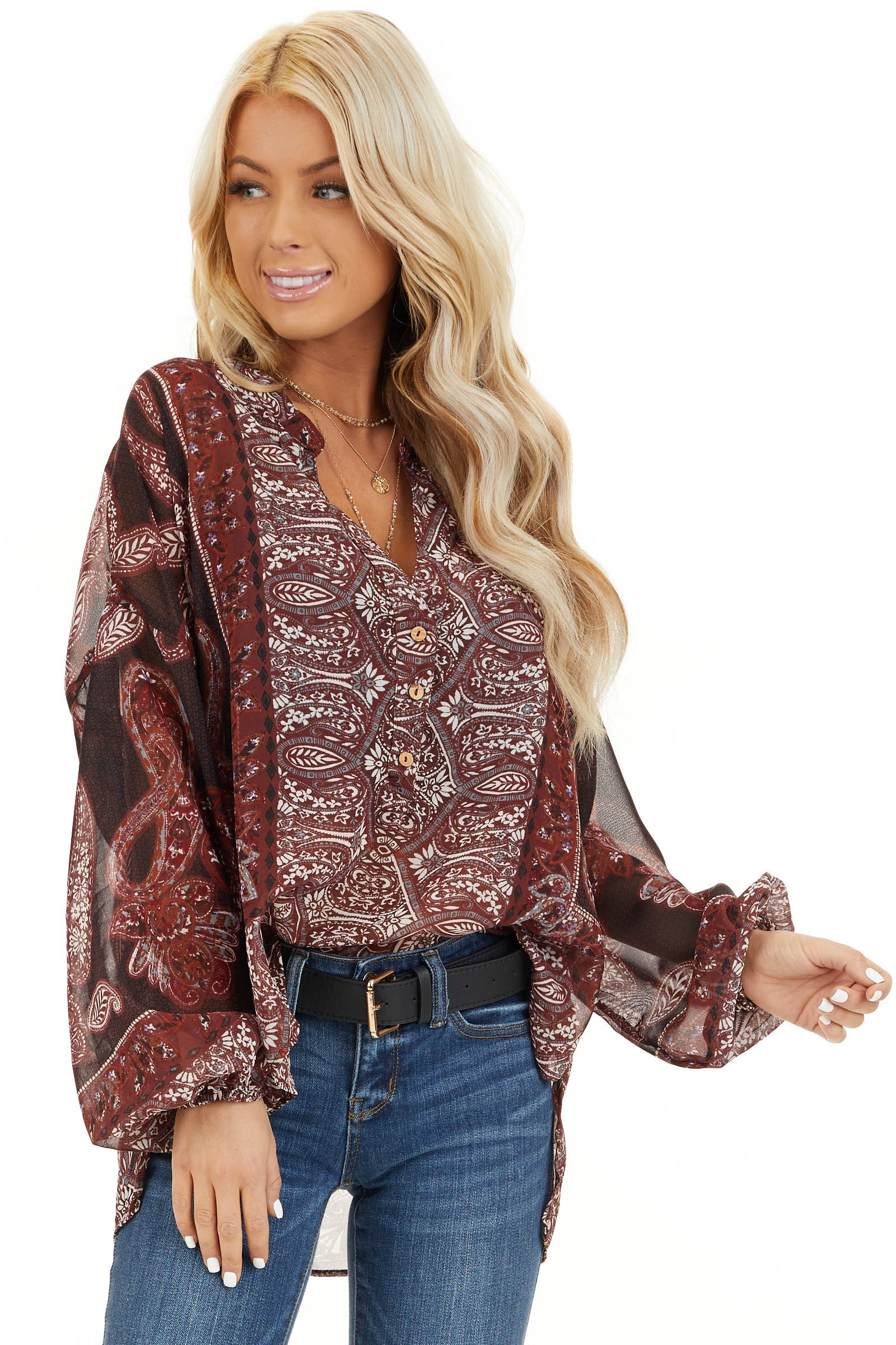 Burgundy Paisley Print Sheer Button Up Blouse front close up