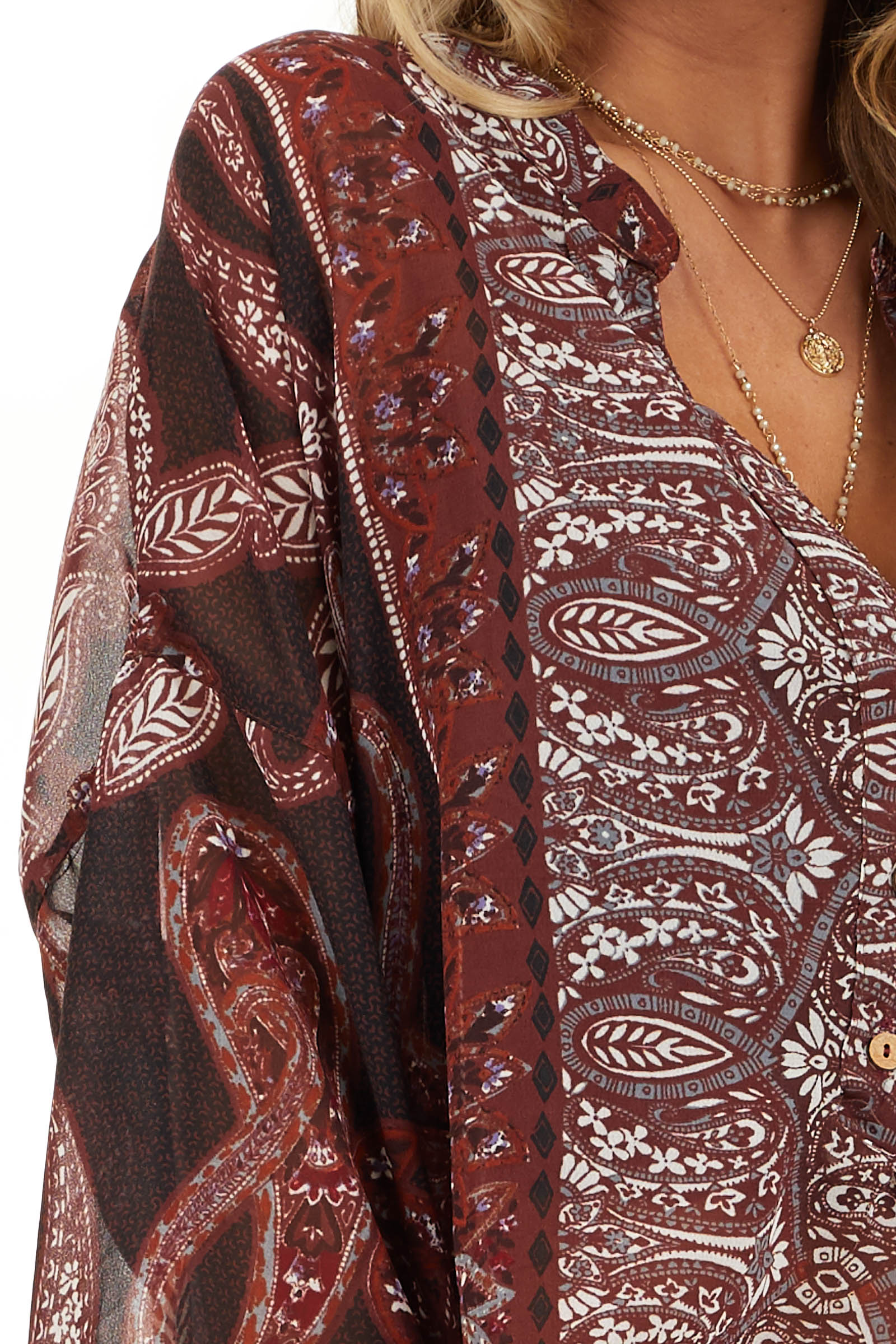 Burgundy Paisley Print Sheer Button Up Blouse detail