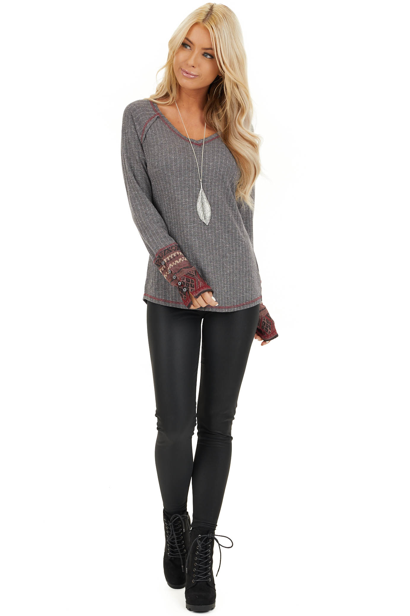 Charcoal Knit Long Sleeve Top with Aztec Print Contrast front full body