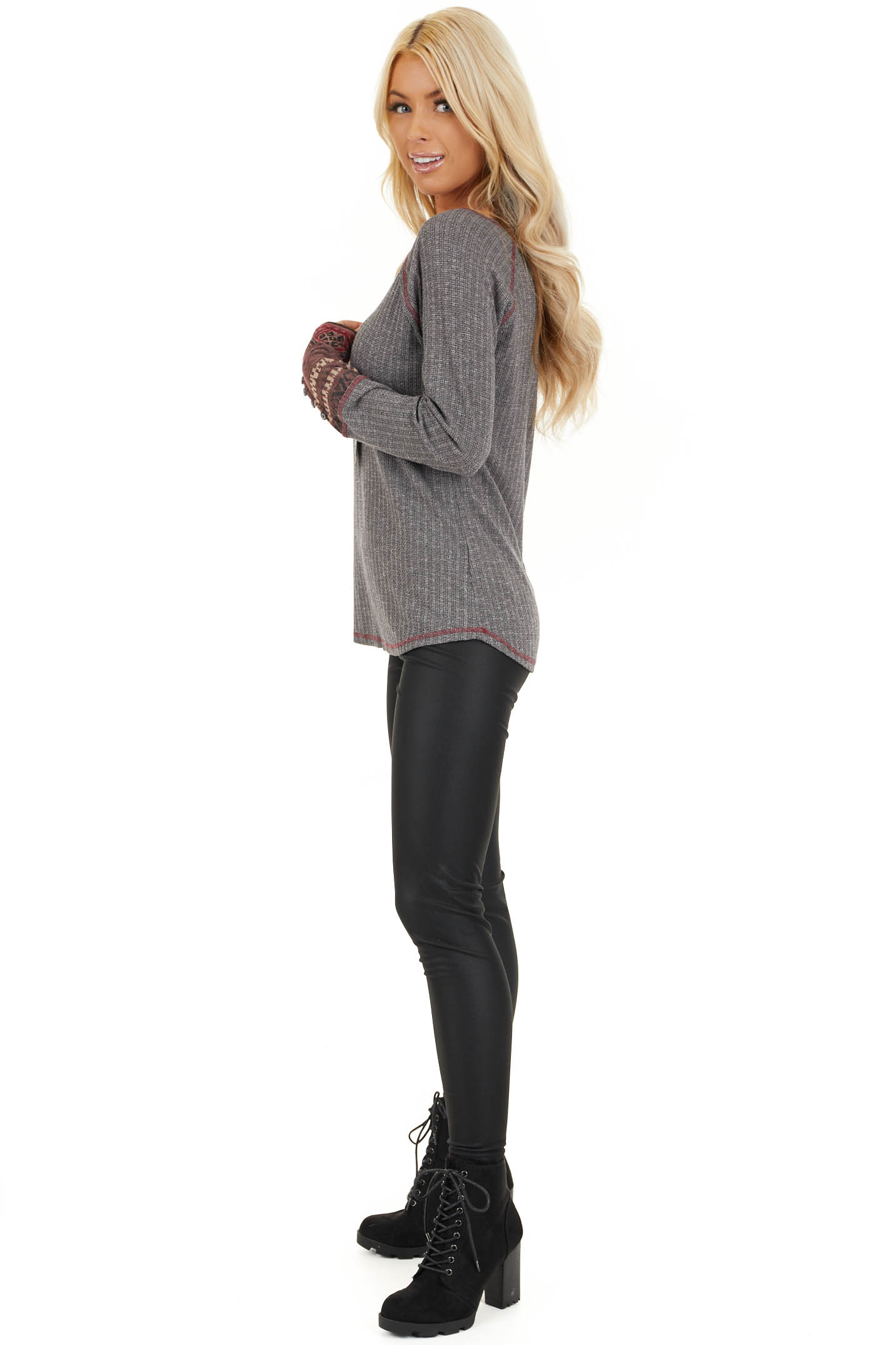 Charcoal Knit Long Sleeve Top with Aztec Print Contrast side full body
