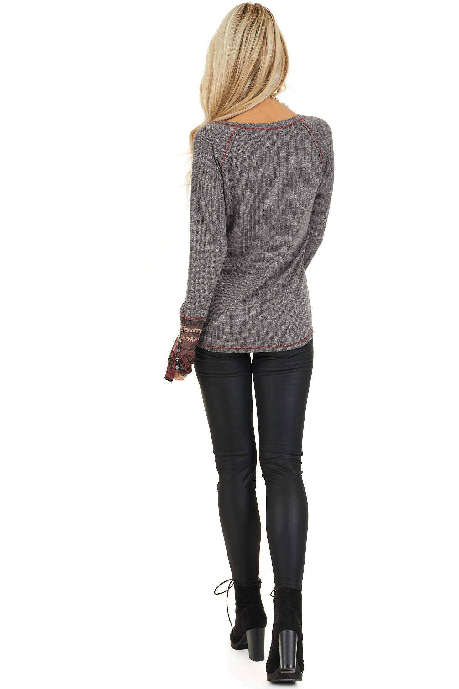 Charcoal Knit Long Sleeve Top with Aztec Print Contrast back full body