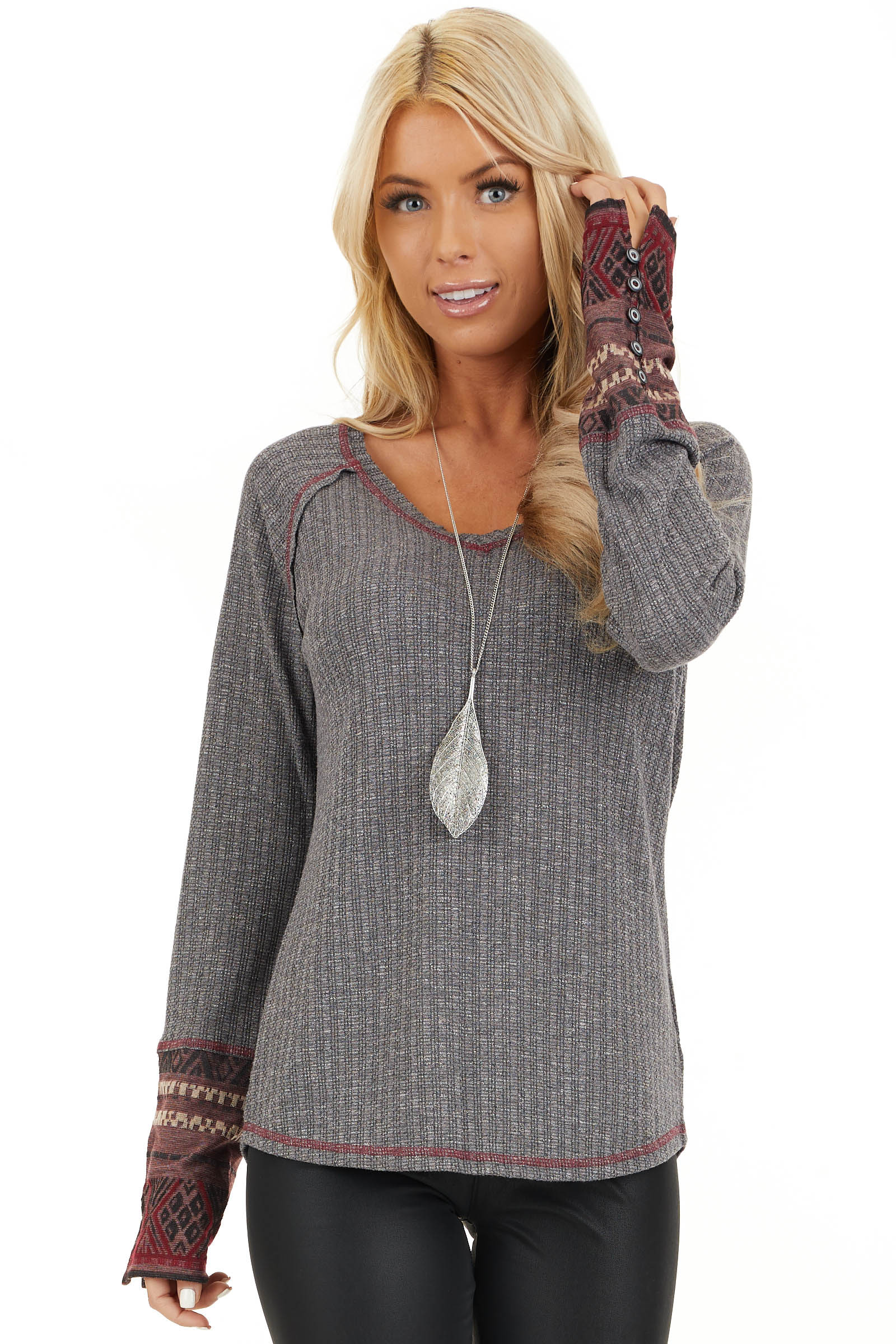 Charcoal Knit Long Sleeve Top with Aztec Print Contrast front close up